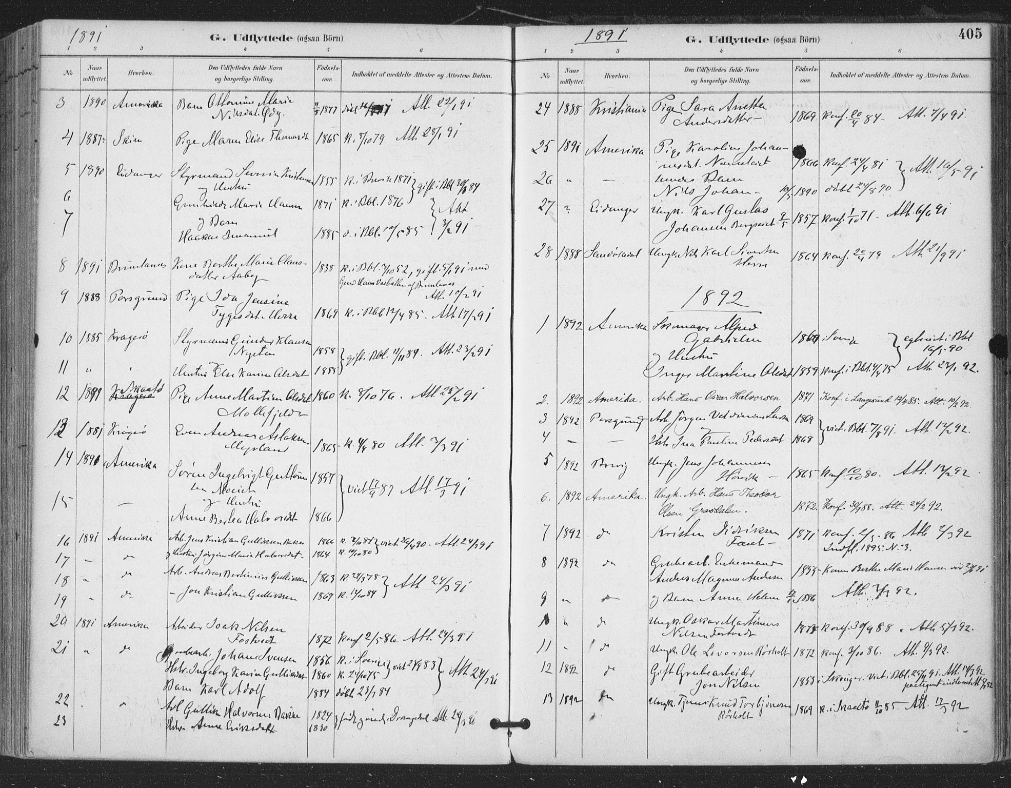 SAKO, Bamble kirkebøker, F/Fa/L0008: Ministerialbok nr. I 8, 1888-1900, s. 405
