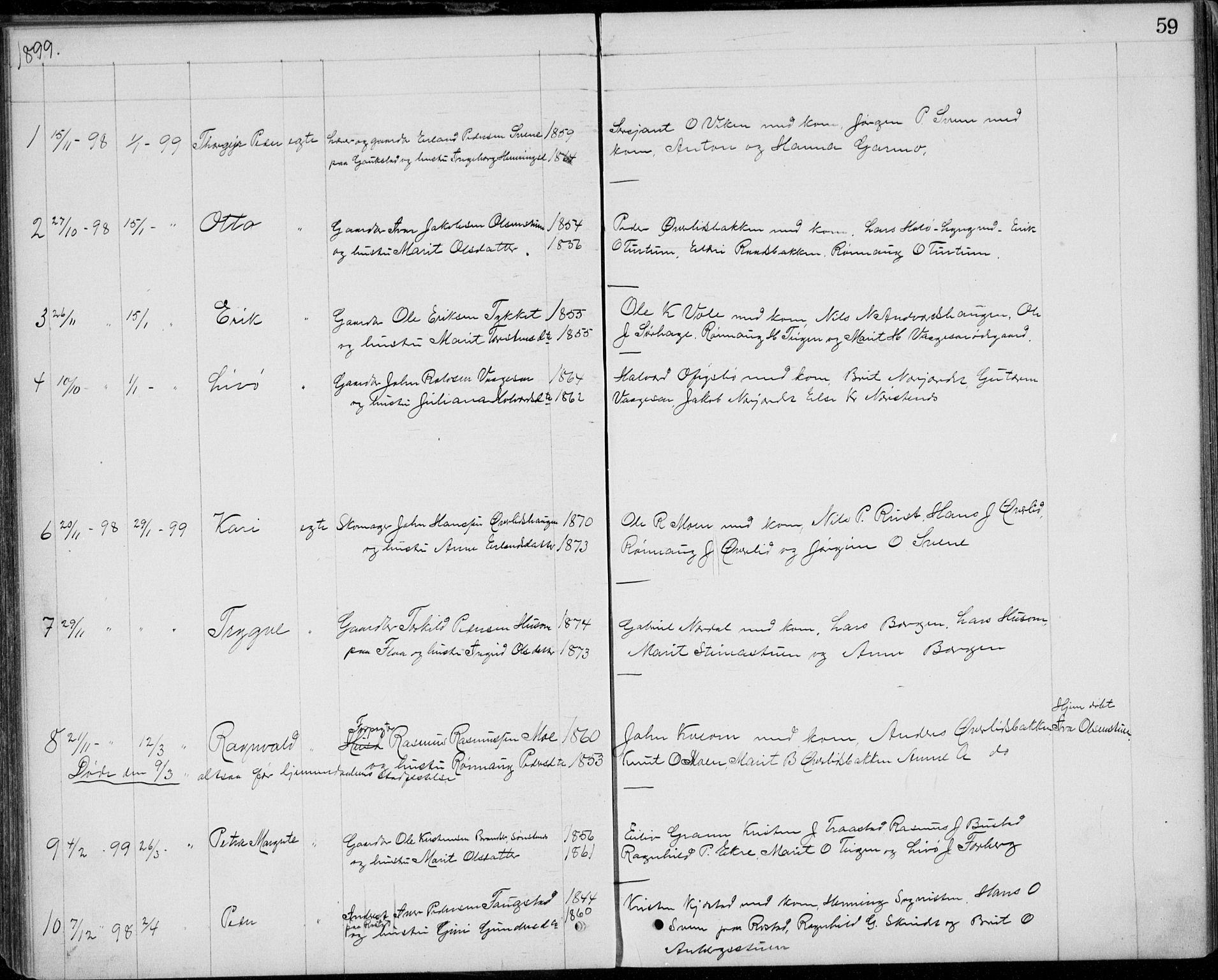 SAH, Lom prestekontor, L/L0013: Klokkerbok nr. 13, 1874-1938, s. 59