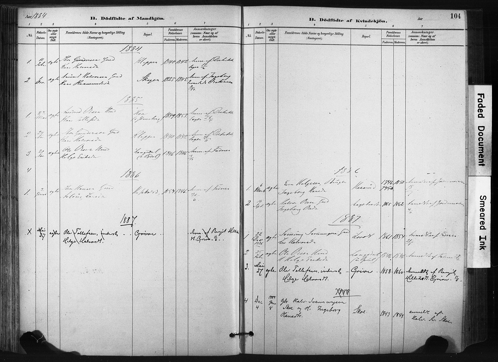 SAKO, Bø kirkebøker, F/Fa/L0010: Ministerialbok nr. 10, 1880-1892, s. 104