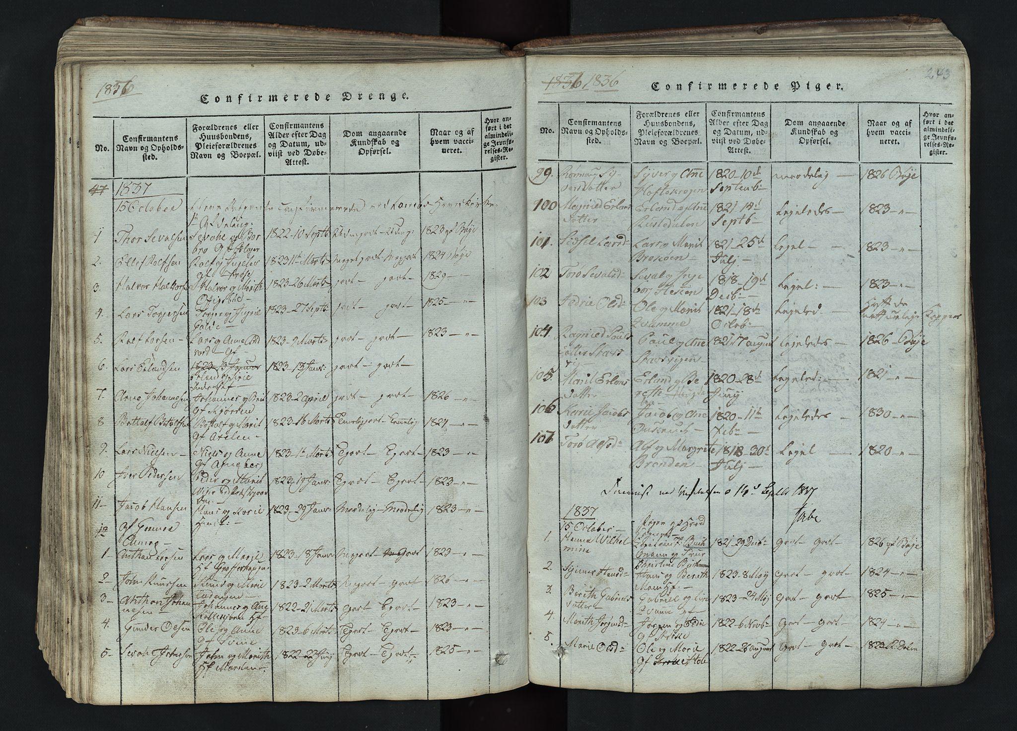 SAH, Lom prestekontor, L/L0002: Klokkerbok nr. 2, 1815-1844, s. 243