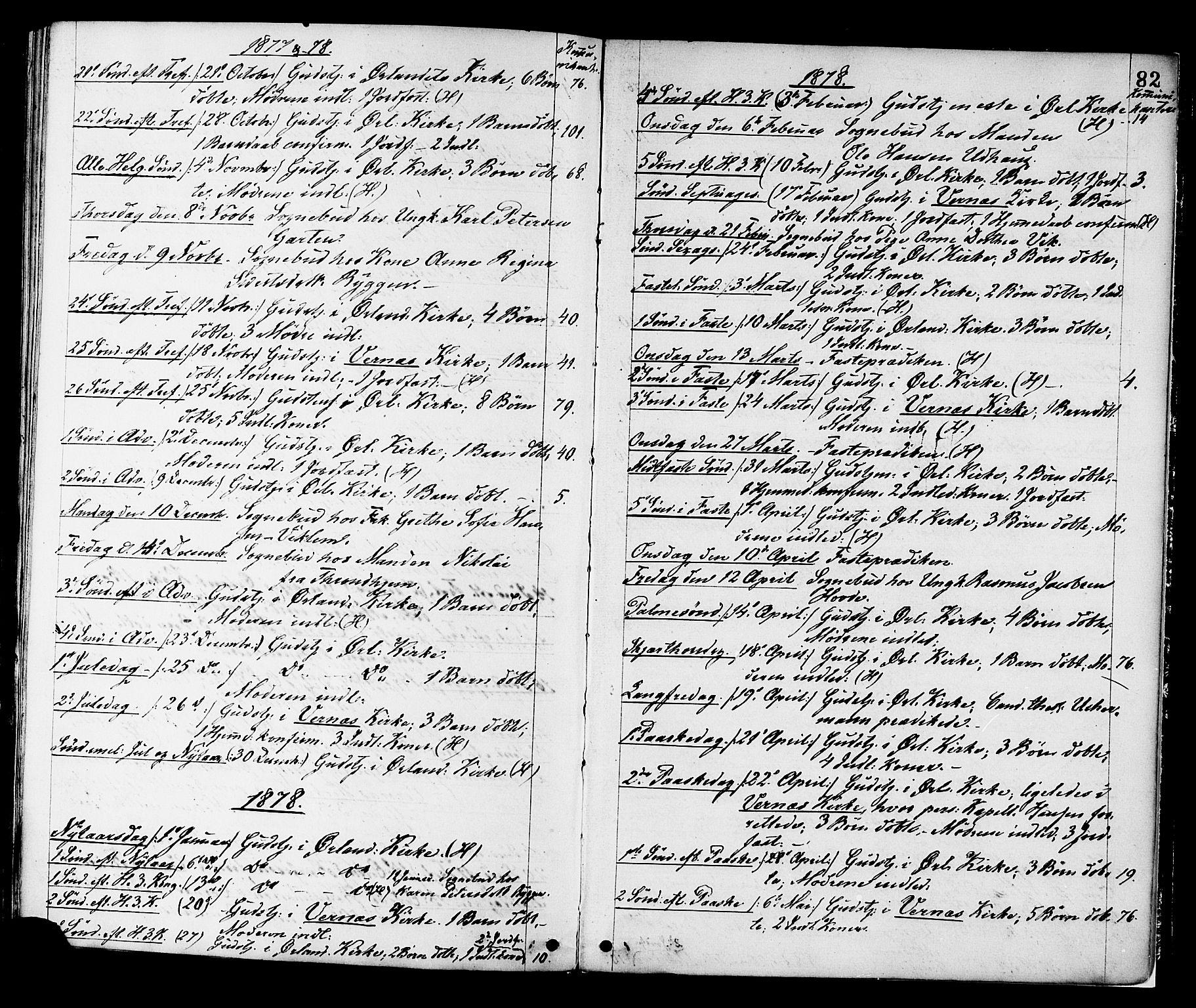 SAT, Ministerialprotokoller, klokkerbøker og fødselsregistre - Sør-Trøndelag, 659/L0738: Ministerialbok nr. 659A08, 1876-1878, s. 82