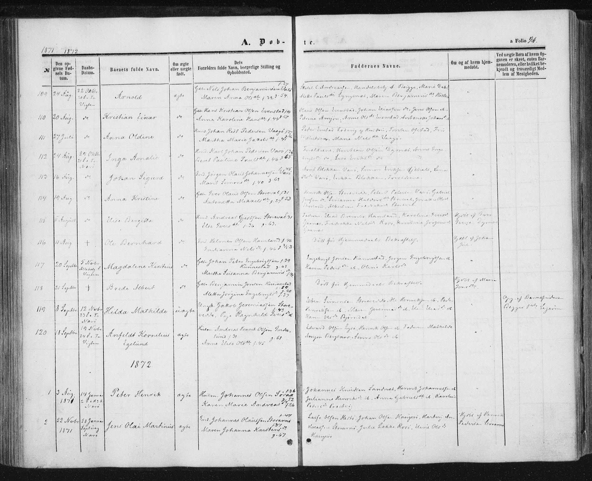 SAT, Ministerialprotokoller, klokkerbøker og fødselsregistre - Nord-Trøndelag, 784/L0670: Ministerialbok nr. 784A05, 1860-1876, s. 94