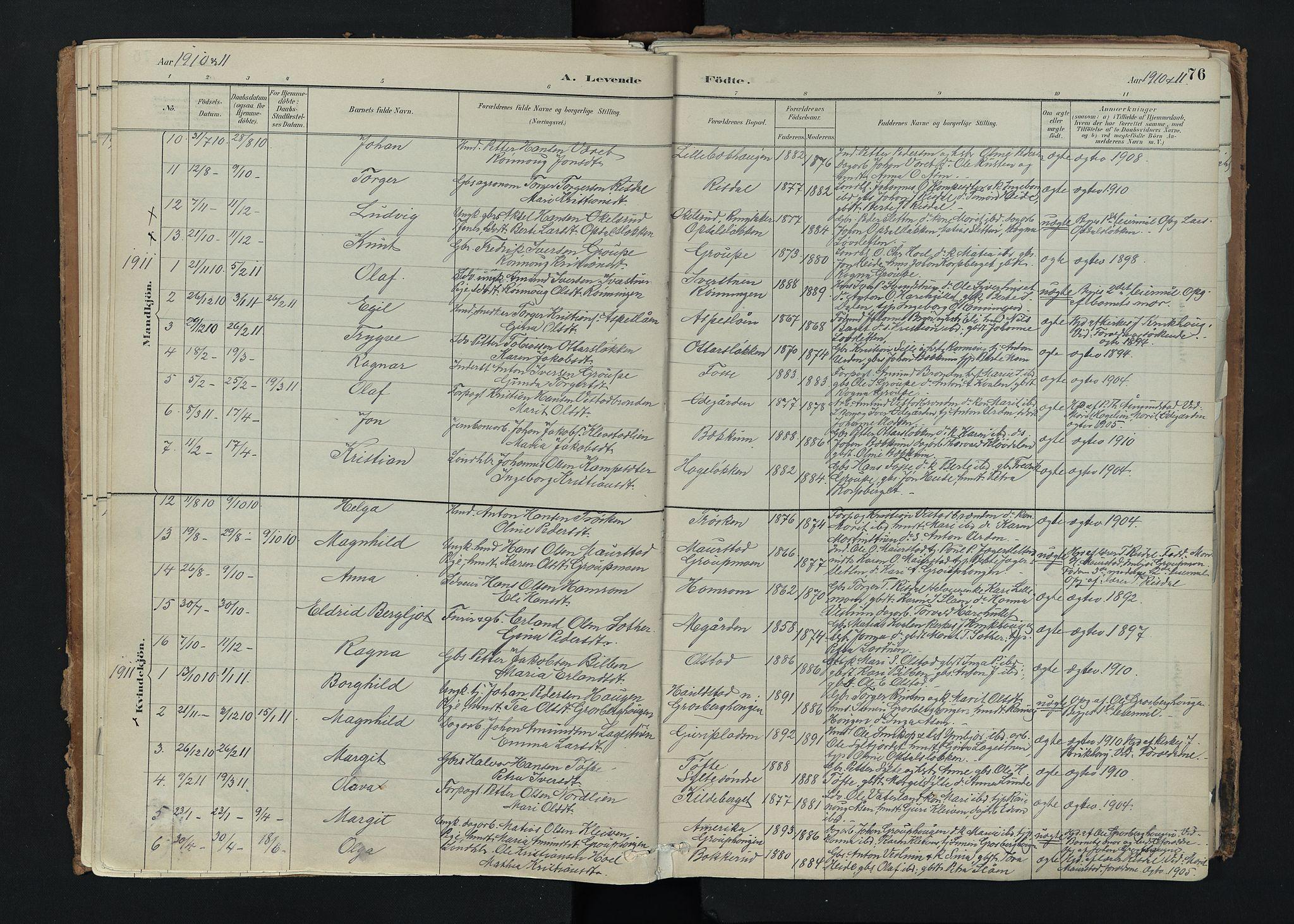 SAH, Nord-Fron prestekontor, Ministerialbok nr. 5, 1884-1914, s. 76