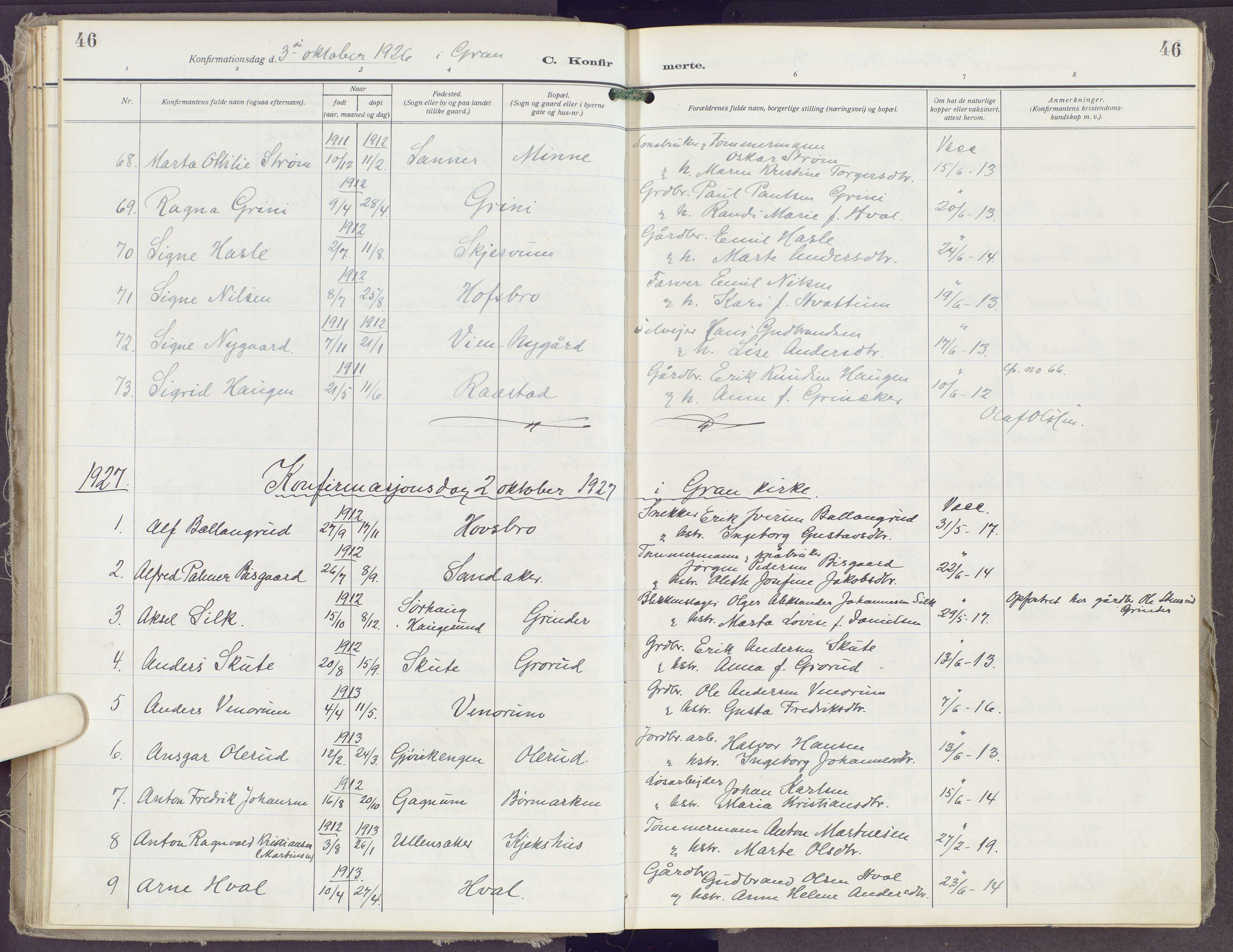SAH, Gran prestekontor, Ministerialbok nr. 23, 1919-1938, s. 46