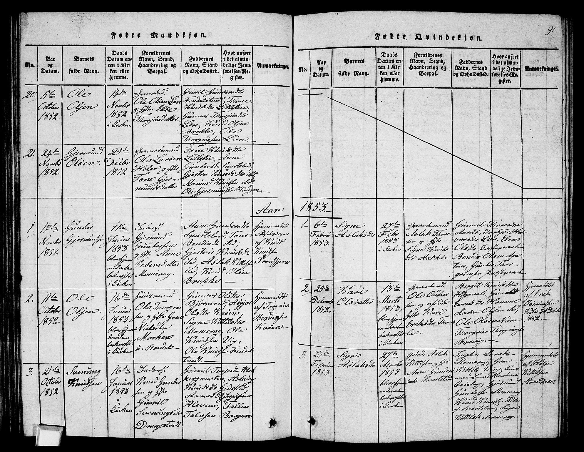 SAKO, Fyresdal kirkebøker, G/Ga/L0002: Klokkerbok nr. I 2, 1815-1857, s. 91