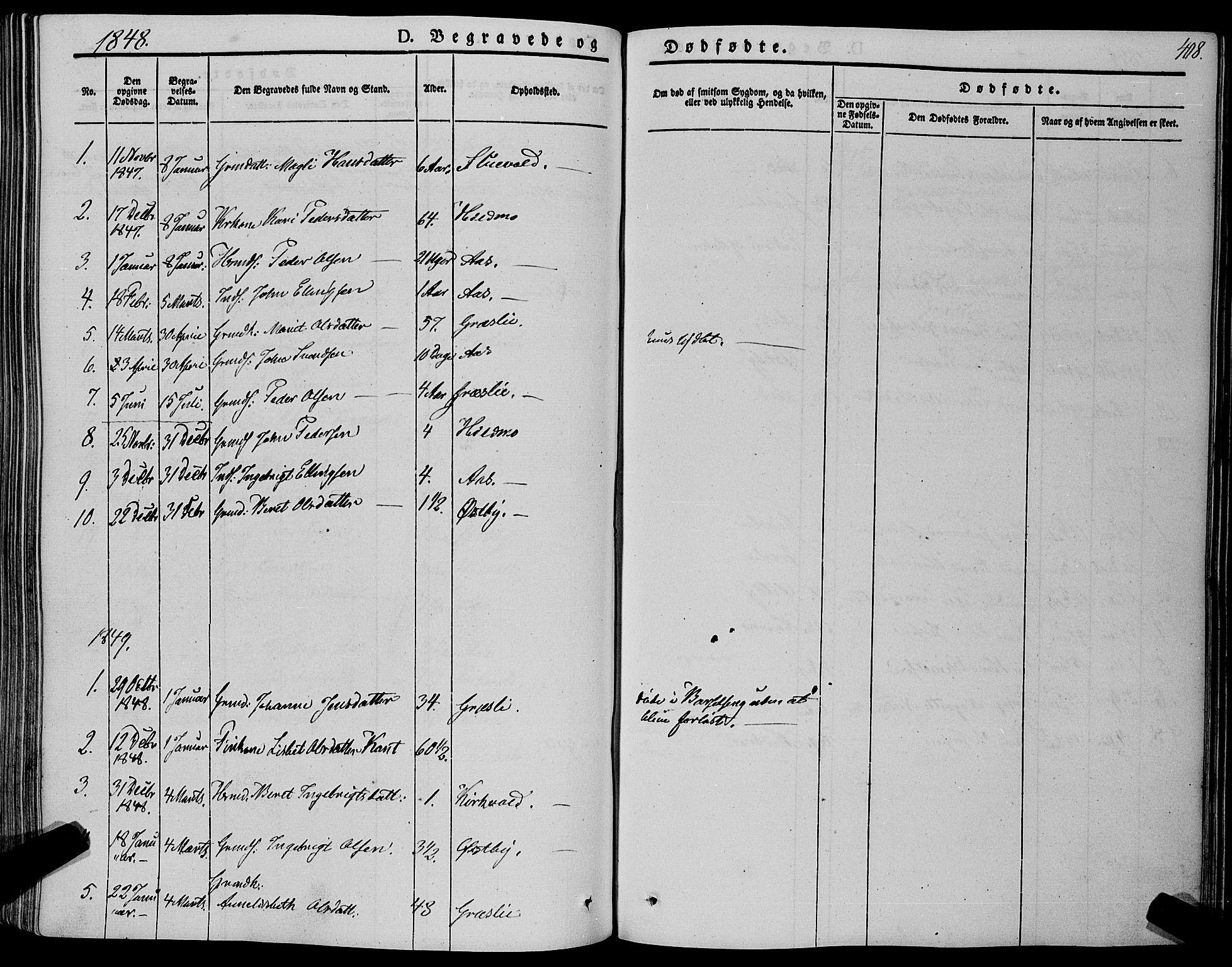SAT, Ministerialprotokoller, klokkerbøker og fødselsregistre - Sør-Trøndelag, 695/L1146: Ministerialbok nr. 695A06 /2, 1843-1859, s. 408