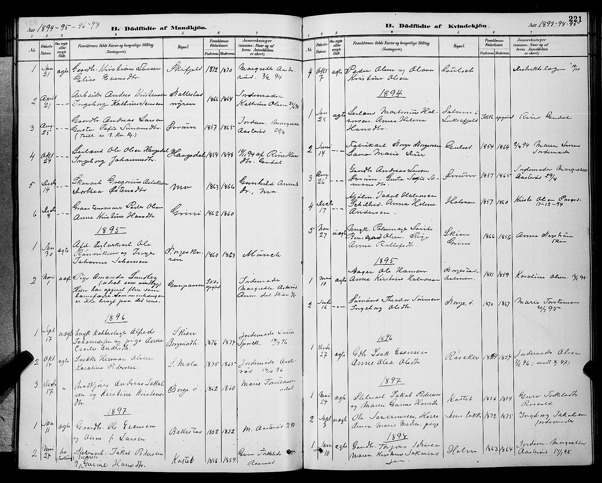 SAKO, Gjerpen kirkebøker, G/Ga/L0002: Klokkerbok nr. I 2, 1883-1900, s. 221