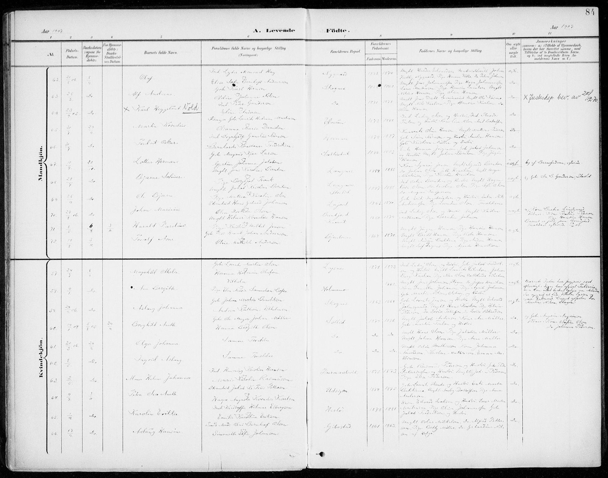 SATØ, Lenvik sokneprestembete, H/Ha: Ministerialbok nr. 14, 1899-1909, s. 84