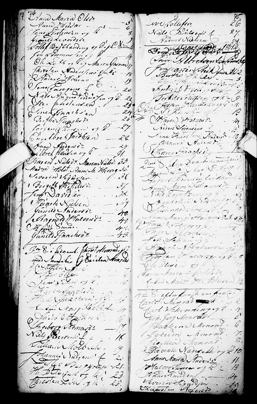 SAKO, Porsgrunn kirkebøker , G/Ga/L0001: Klokkerbok nr. I 1, 1766-1790, s. 74-75