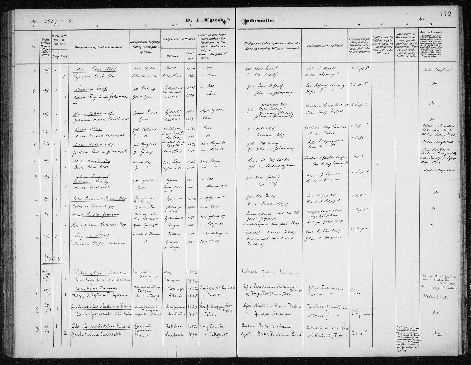 SAB, Fana Sokneprestembete, H/Haa/Haai/L0003: Ministerialbok nr. I 3, 1900-1912, s. 172