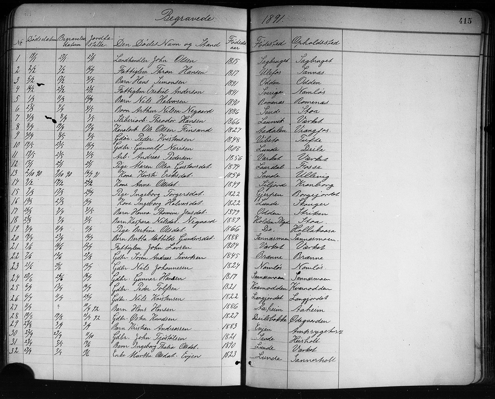 SAKO, Holla kirkebøker, G/Ga/L0005: Klokkerbok nr. I 5, 1891-1917, s. 415