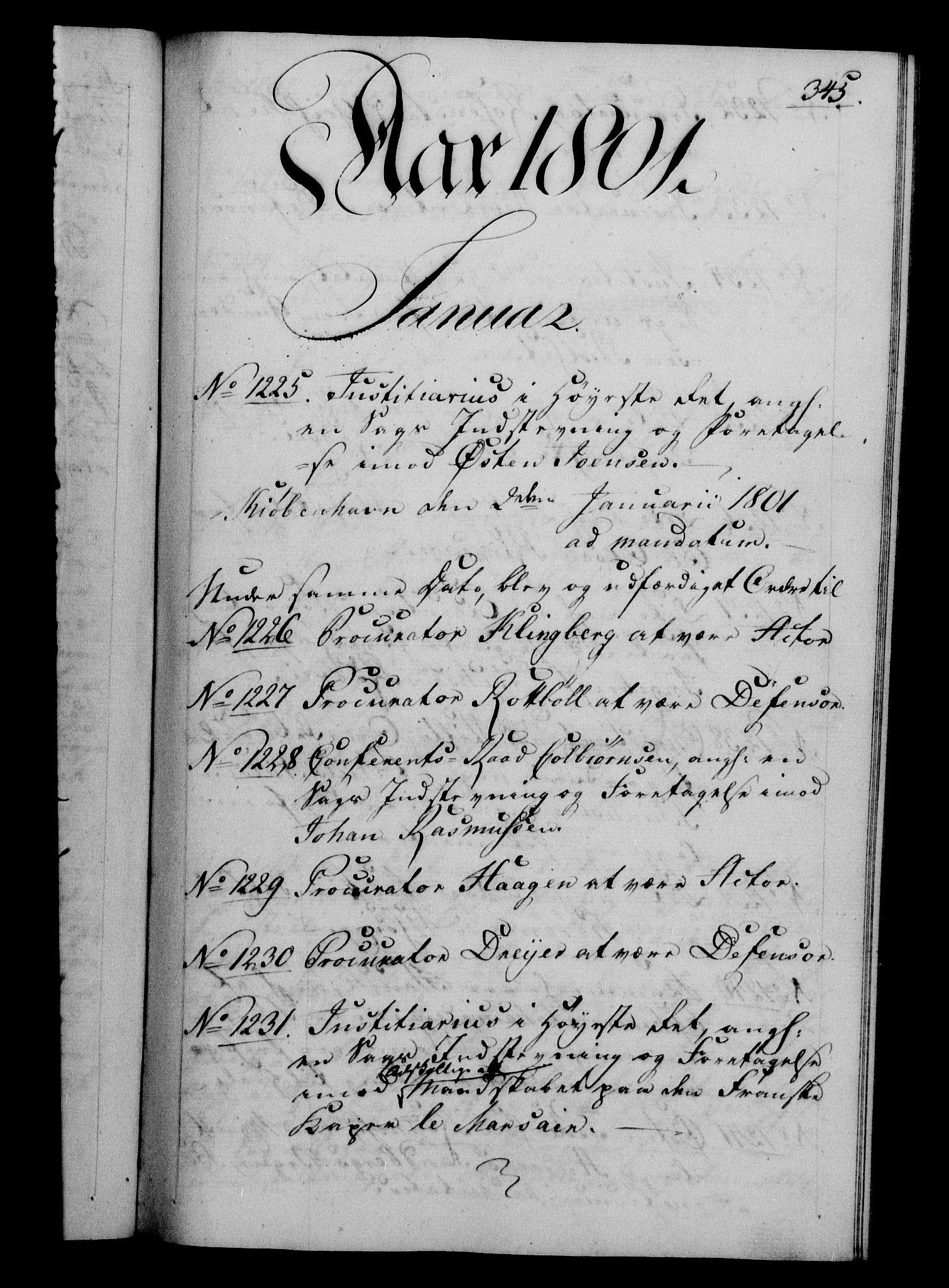 RA, Danske Kanselli 1800-1814, H/Hf/Hfb/Hfba/L0001: Registranter, 1800-1801, s. 345a
