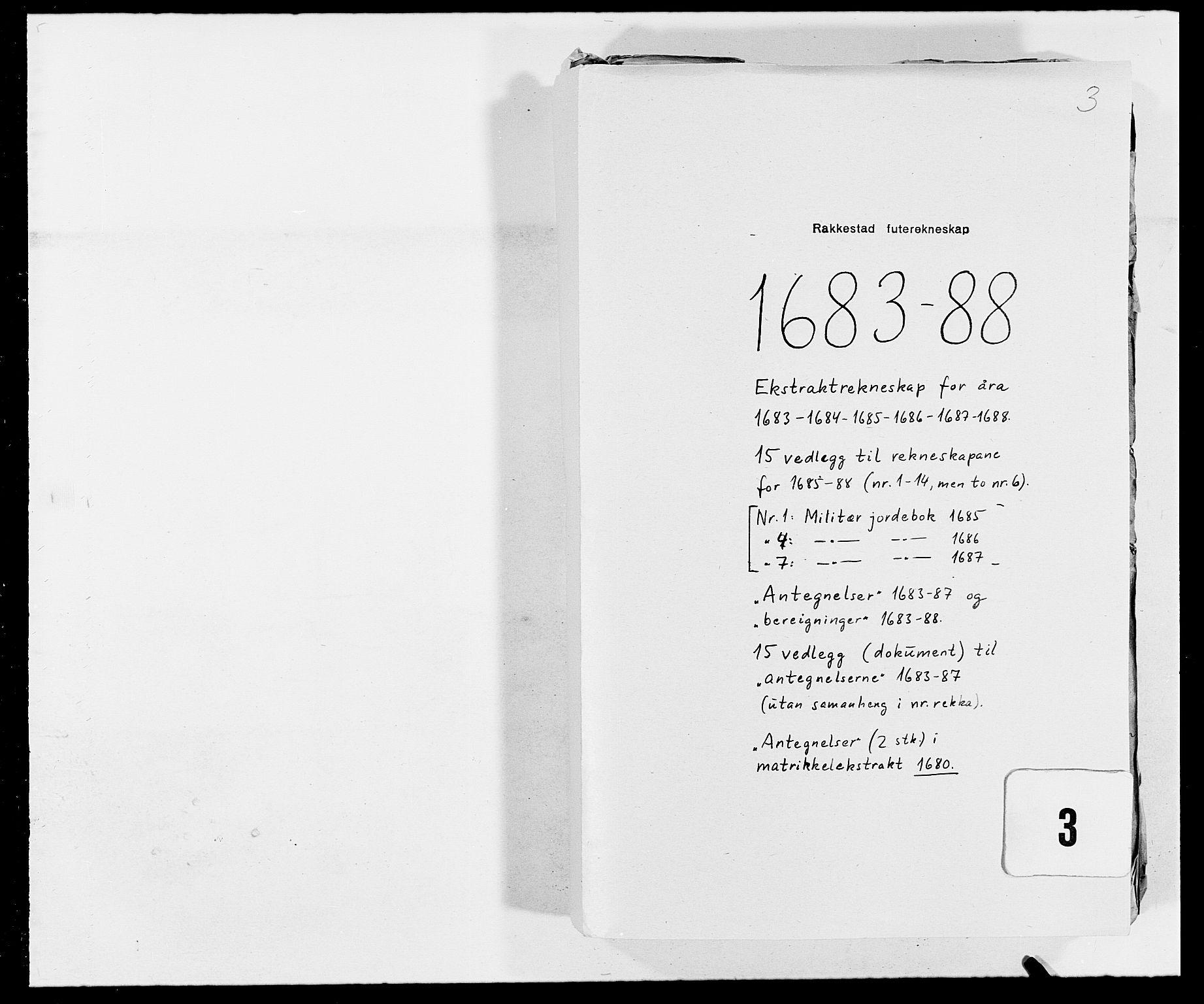 RA, Rentekammeret inntil 1814, Reviderte regnskaper, Fogderegnskap, R05/L0276: Fogderegnskap Rakkestad, 1683-1688, s. 247