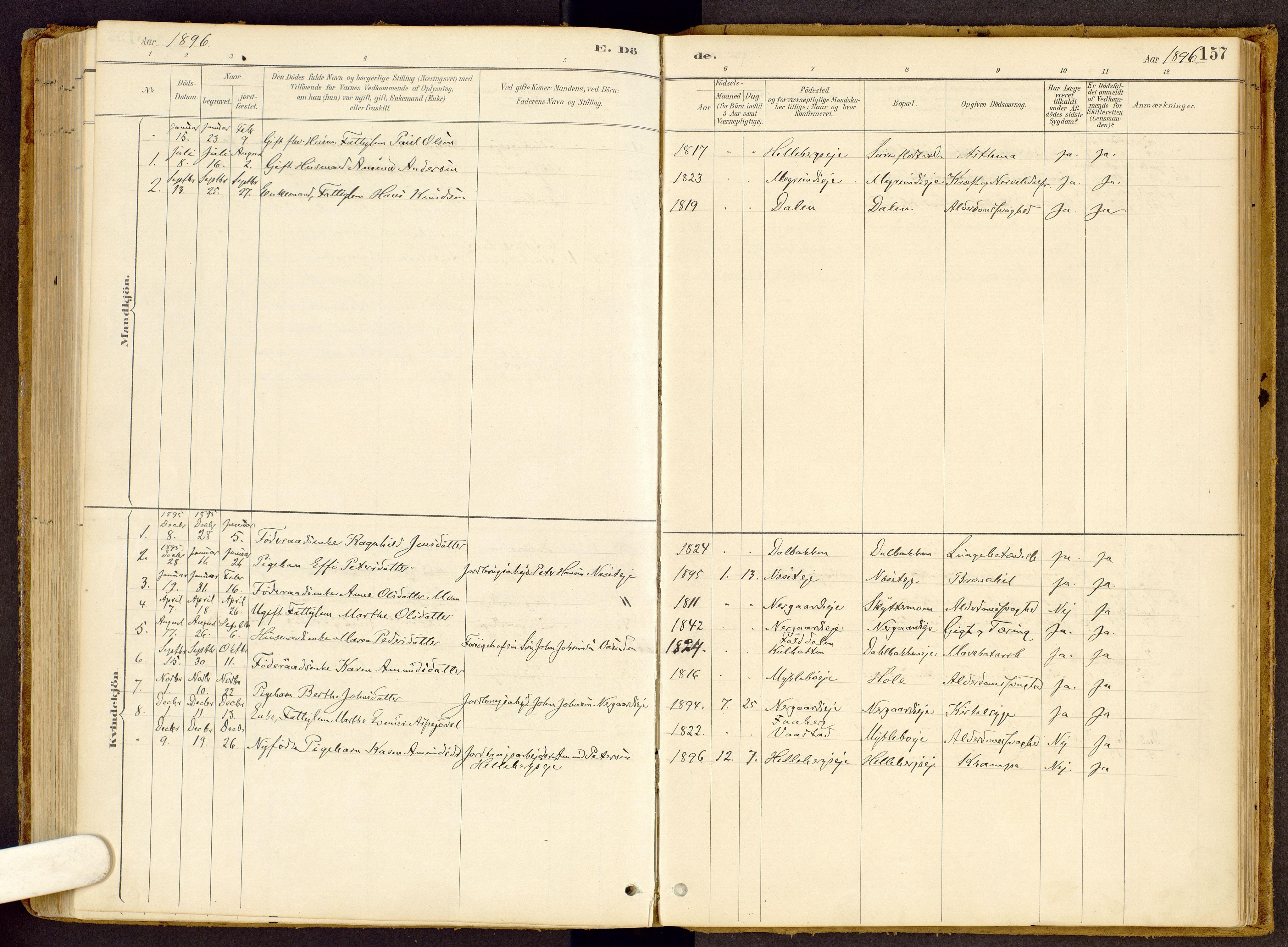 SAH, Vestre Gausdal prestekontor, Ministerialbok nr. 2, 1887-1918, s. 157