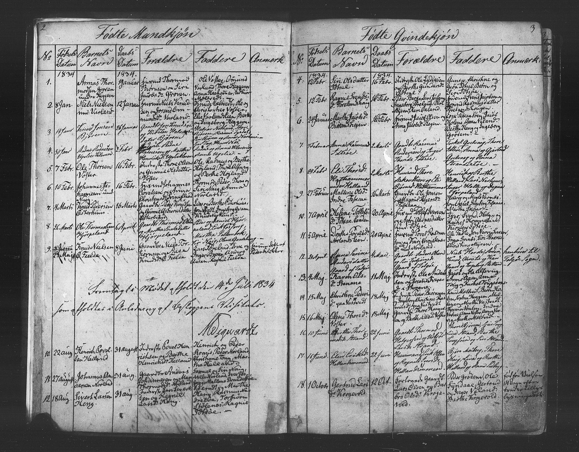 SAST, Strand sokneprestkontor, H/Ha/Haa/L0006: Ministerialbok nr. A 6, 1834-1854, s. 2-3