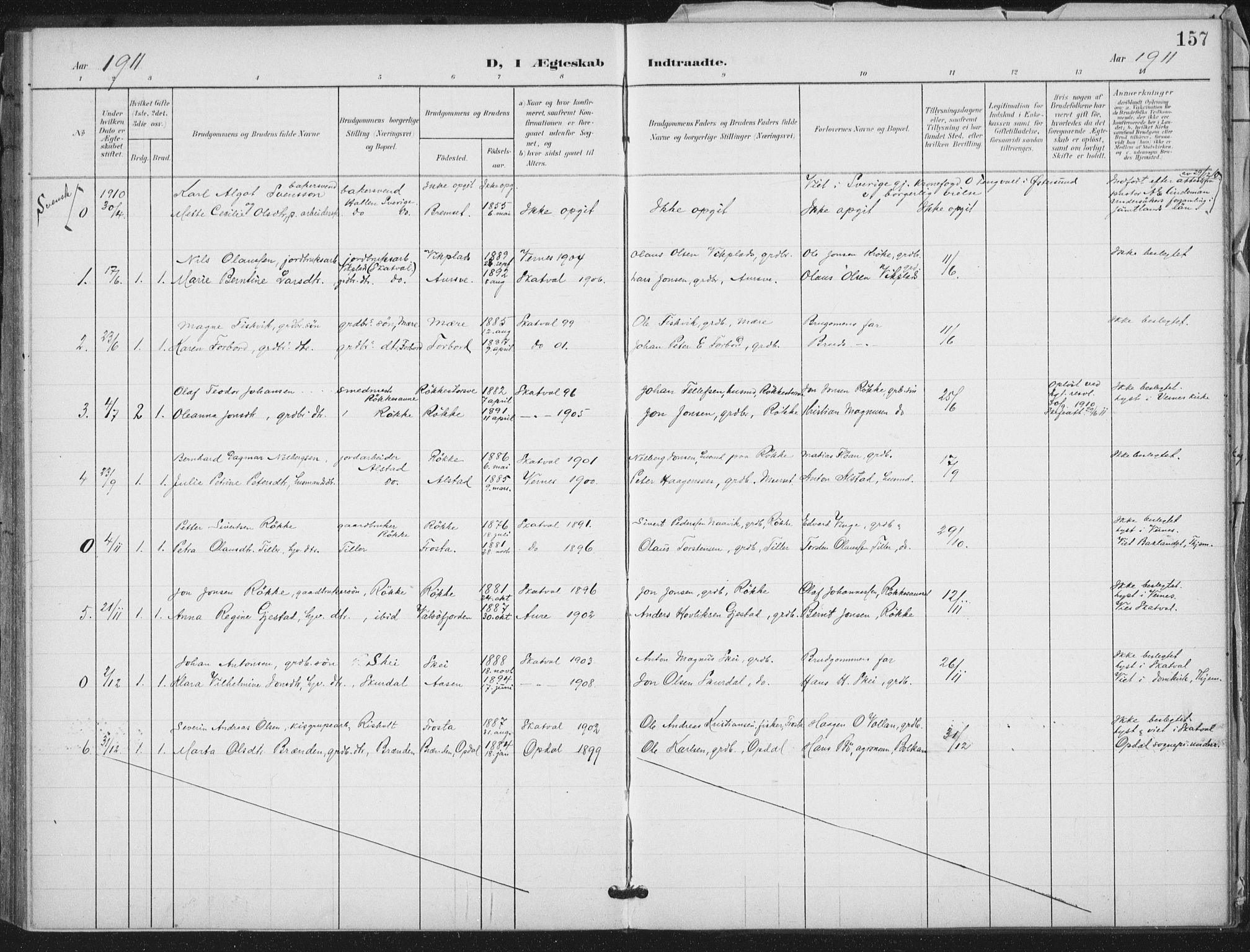 SAT, Ministerialprotokoller, klokkerbøker og fødselsregistre - Nord-Trøndelag, 712/L0101: Ministerialbok nr. 712A02, 1901-1916, s. 157