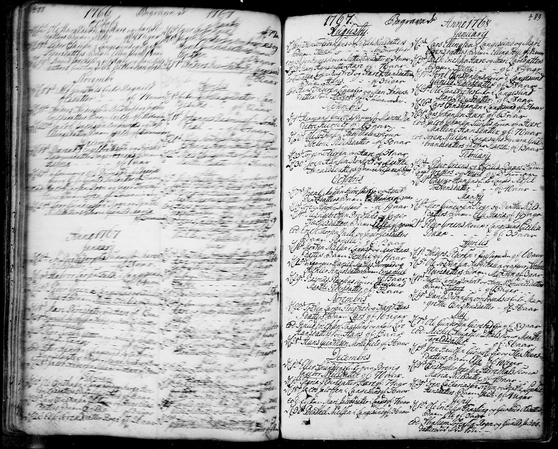 SAKO, Bamble kirkebøker, F/Fa/L0001: Ministerialbok nr. I 1, 1702-1774, s. 488-489