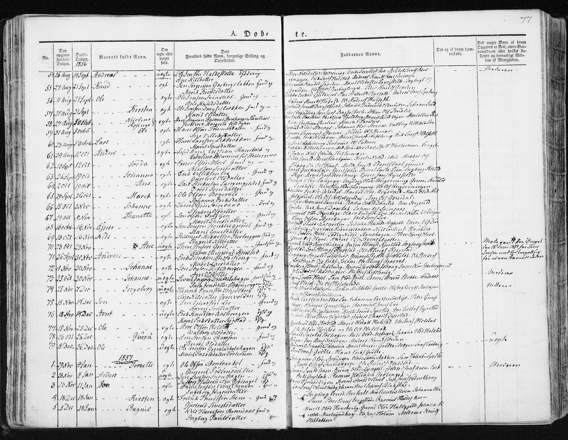 SAT, Ministerialprotokoller, klokkerbøker og fødselsregistre - Sør-Trøndelag, 672/L0855: Ministerialbok nr. 672A07, 1829-1860, s. 77