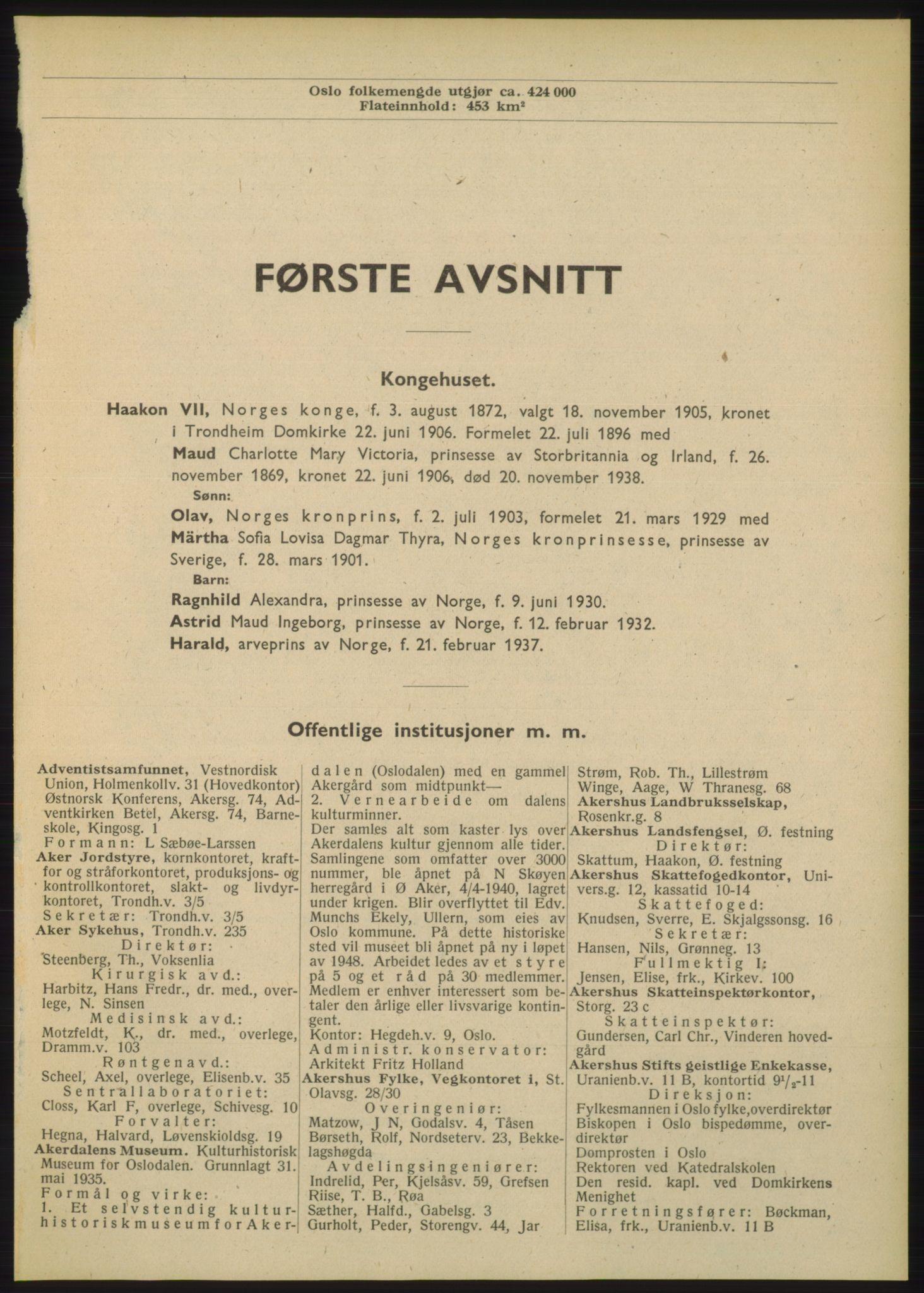 RA, Oslo adressebok (publikasjon)*, 1948, s. 1