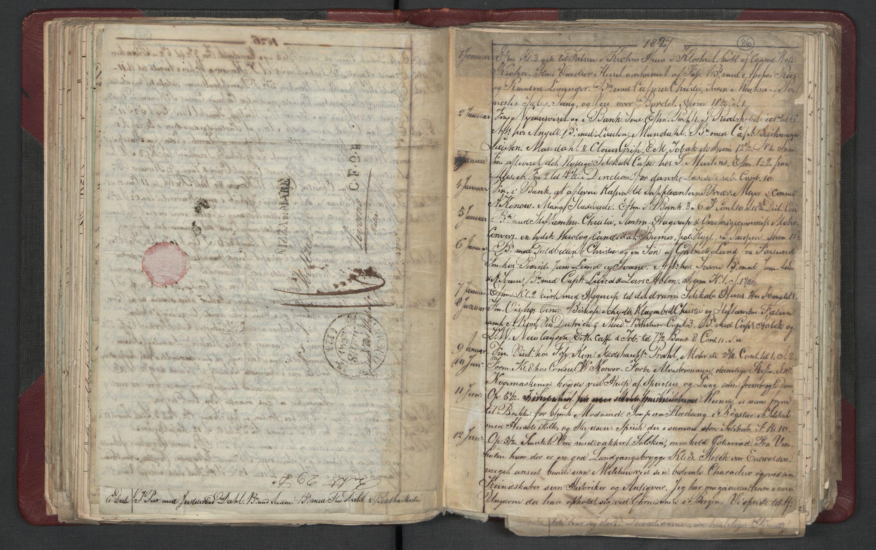 RA, Meltzer, Fredrik, F/L0003: Dagbok, 1821-1831, s. 85b-86a