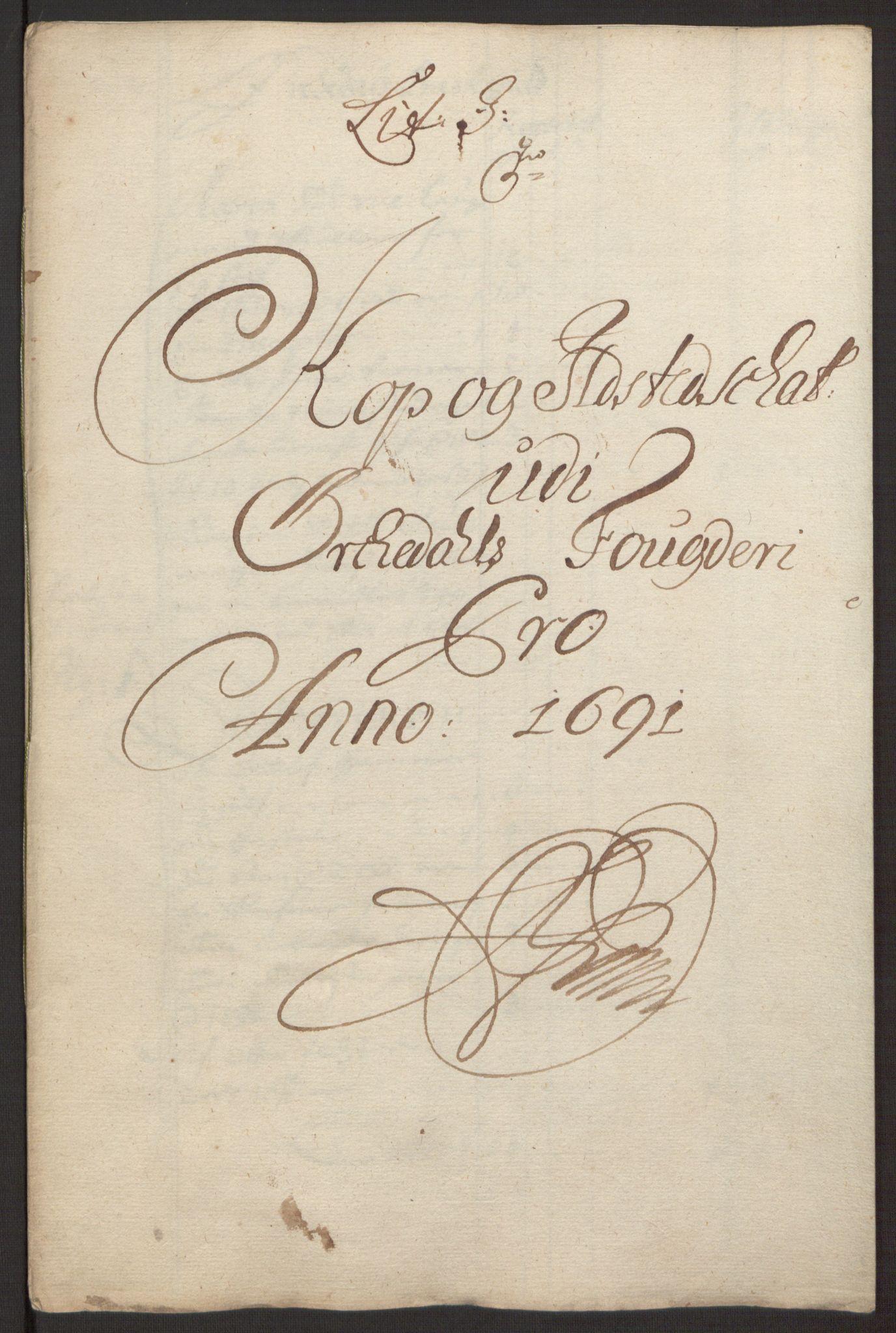 RA, Rentekammeret inntil 1814, Reviderte regnskaper, Fogderegnskap, R58/L3937: Fogderegnskap Orkdal, 1691-1692, s. 89