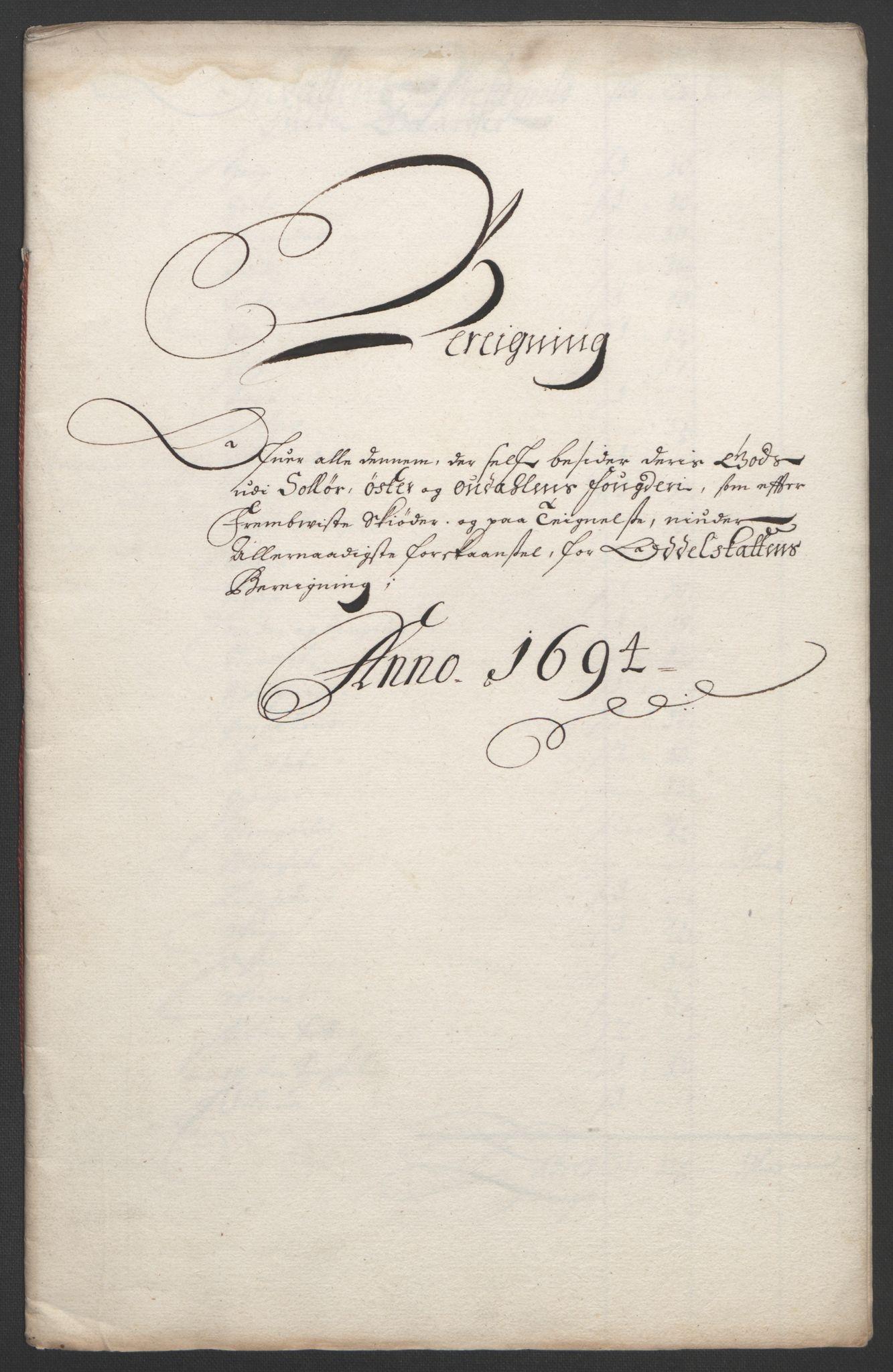 RA, Rentekammeret inntil 1814, Reviderte regnskaper, Fogderegnskap, R13/L0832: Fogderegnskap Solør, Odal og Østerdal, 1694, s. 331
