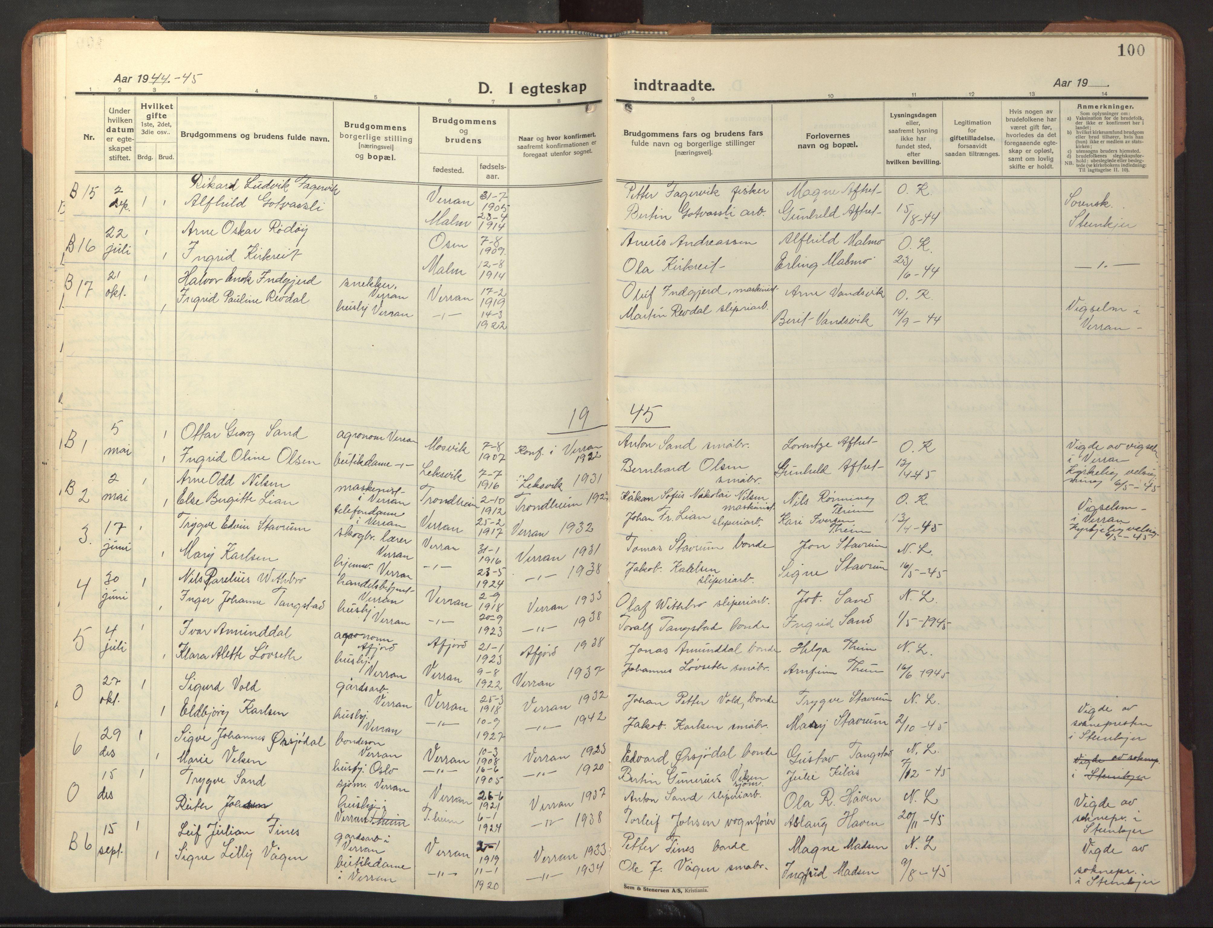 SAT, Ministerialprotokoller, klokkerbøker og fødselsregistre - Nord-Trøndelag, 744/L0425: Klokkerbok nr. 744C04, 1924-1947, s. 100