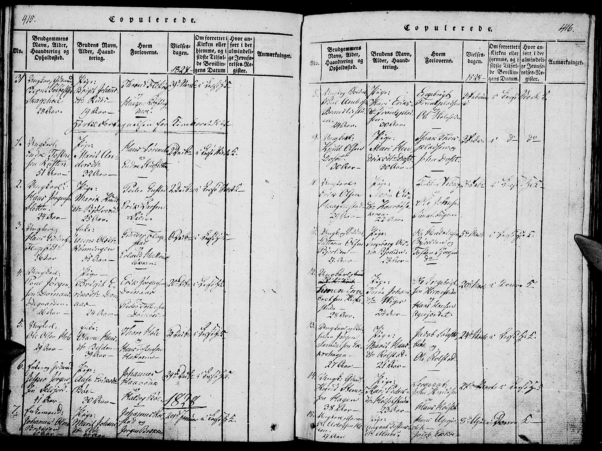 SAH, Lesja prestekontor, Ministerialbok nr. 4, 1820-1829, s. 415-416