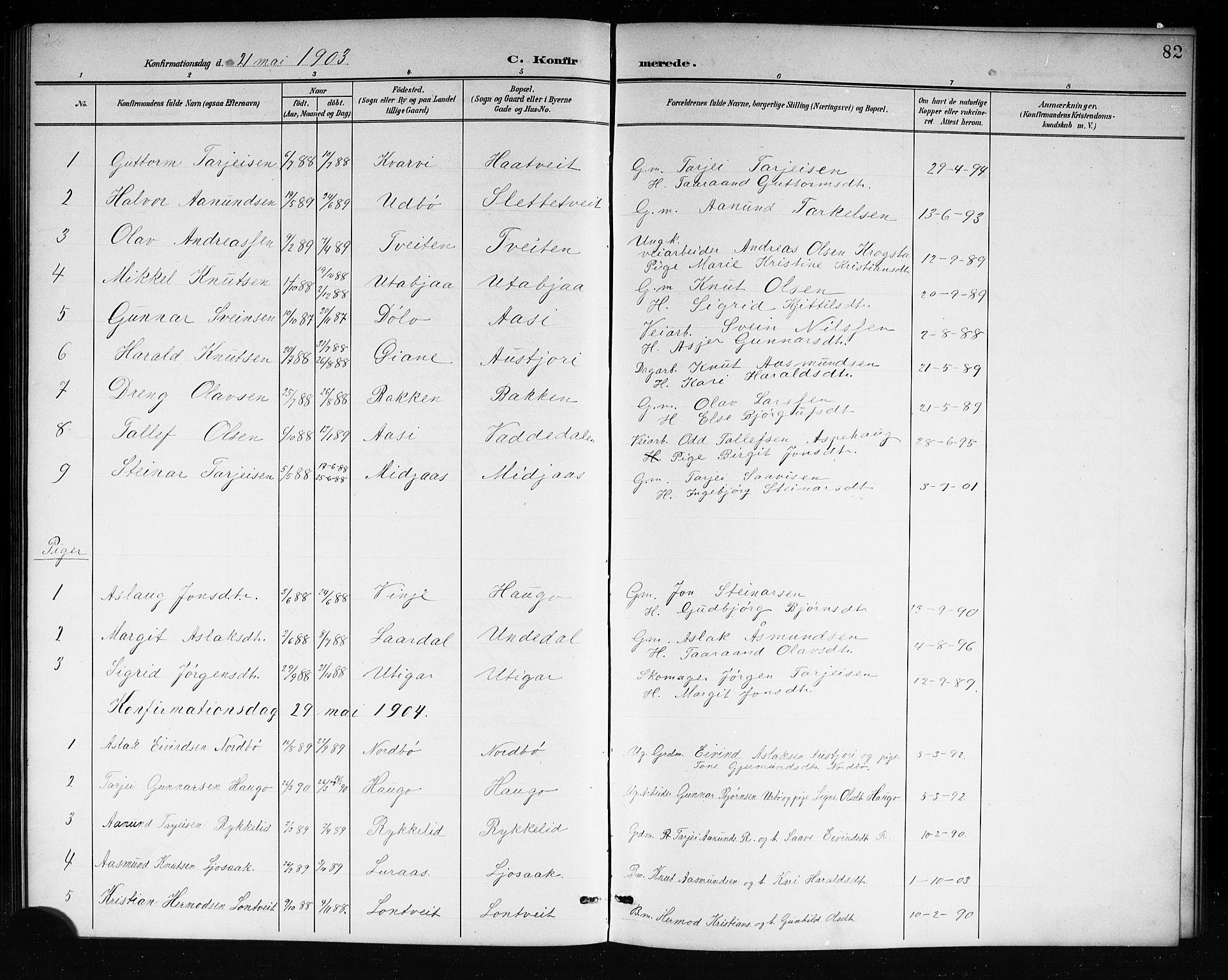 SAKO, Mo kirkebøker, G/Ga/L0002: Klokkerbok nr. I 2, 1892-1914, s. 82