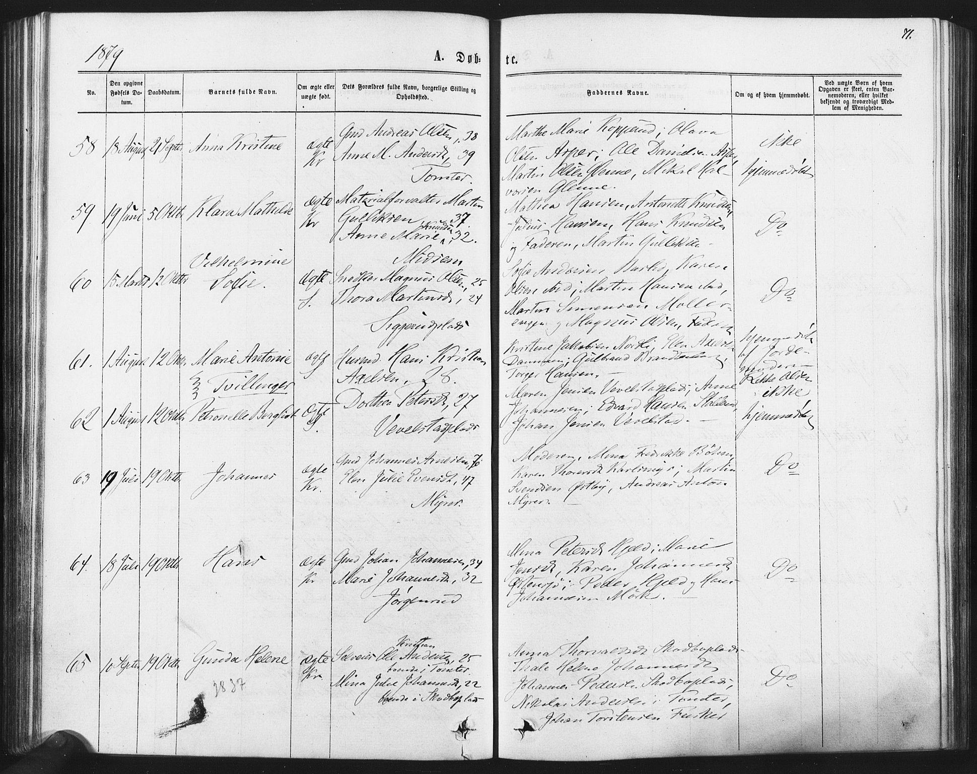 SAO, Kråkstad prestekontor Kirkebøker, F/Fa/L0008: Ministerialbok nr. I 8, 1870-1879, s. 71