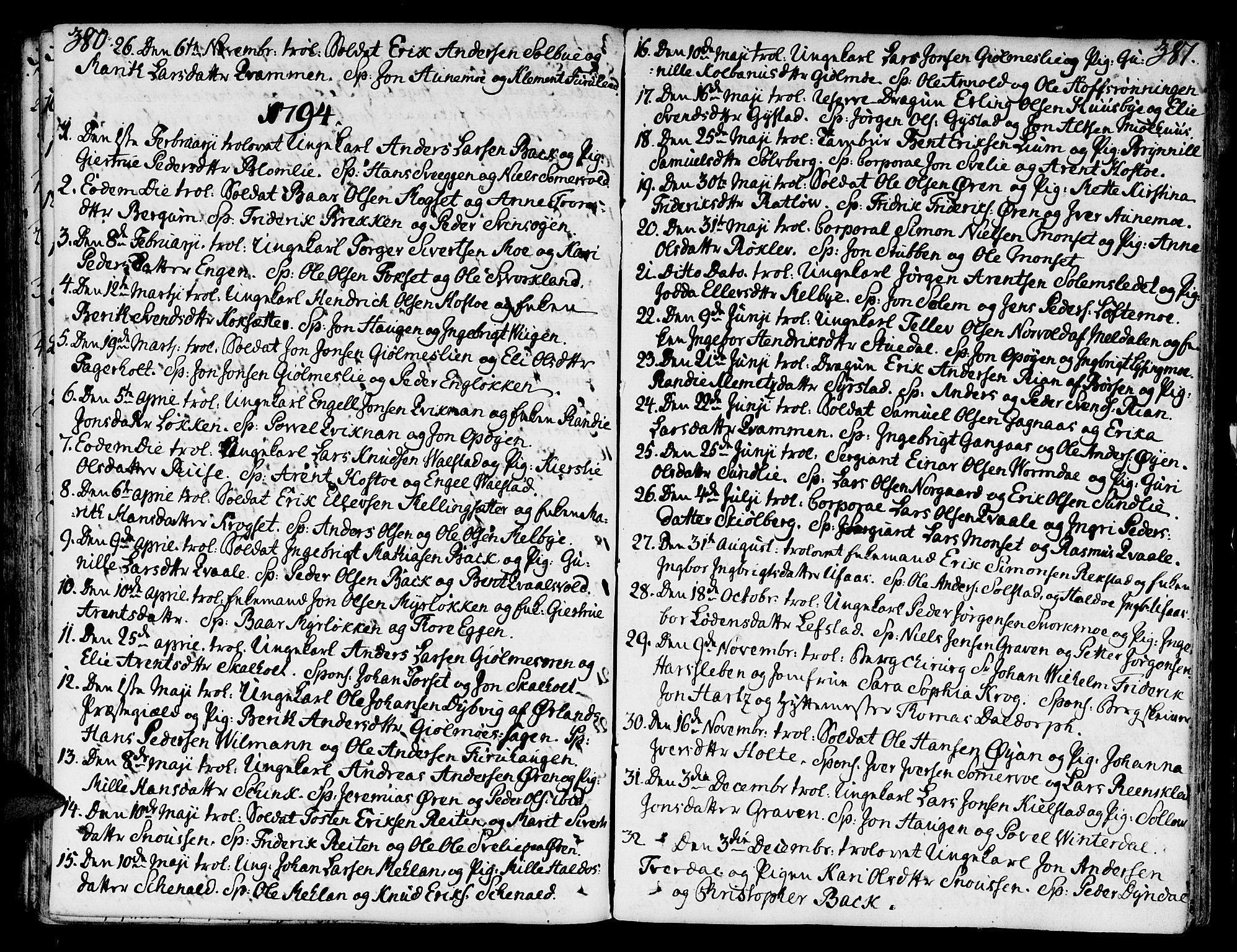 SAT, Ministerialprotokoller, klokkerbøker og fødselsregistre - Sør-Trøndelag, 668/L0802: Ministerialbok nr. 668A02, 1776-1799, s. 380-381