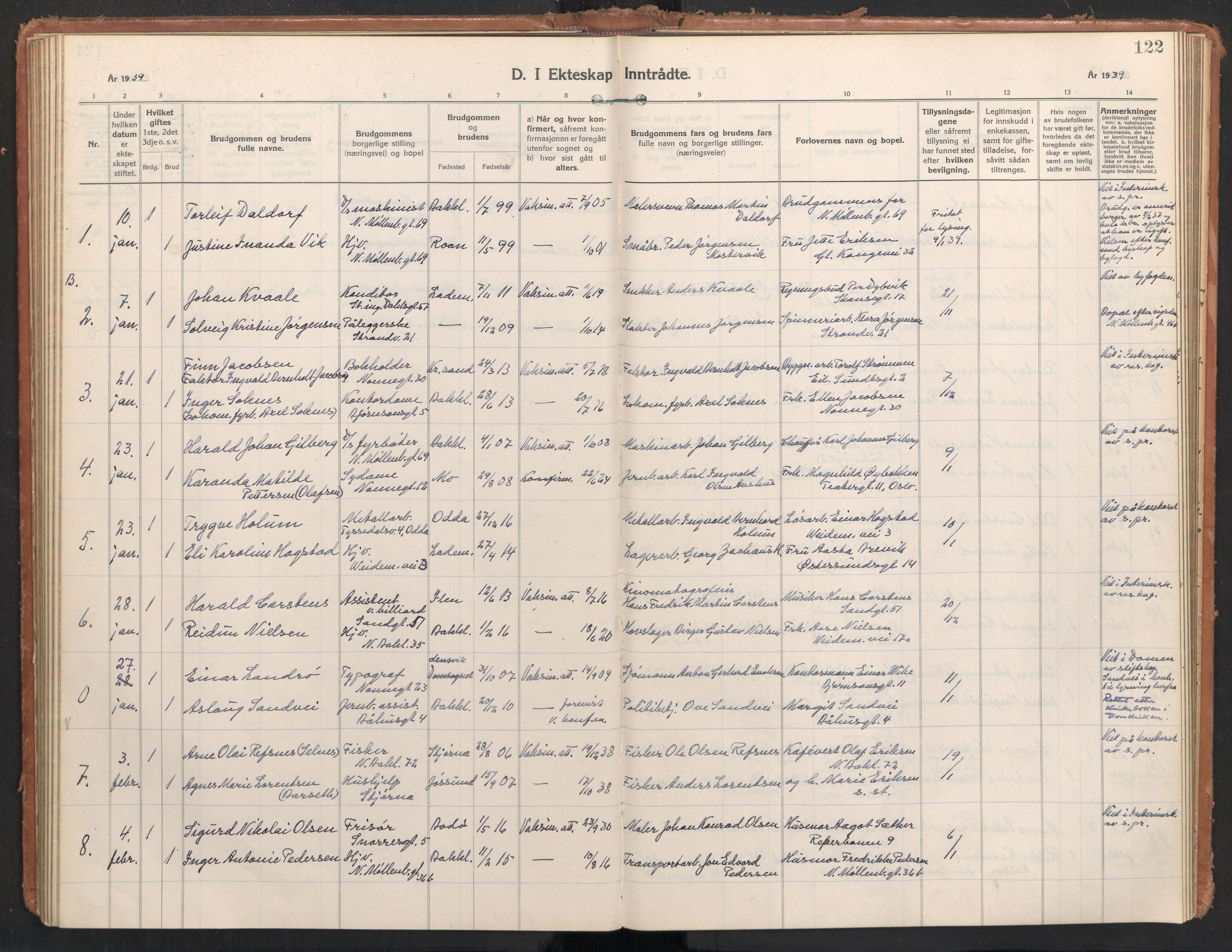 SAT, Ministerialprotokoller, klokkerbøker og fødselsregistre - Sør-Trøndelag, 604/L0209: Ministerialbok nr. 604A29, 1931-1945, s. 122