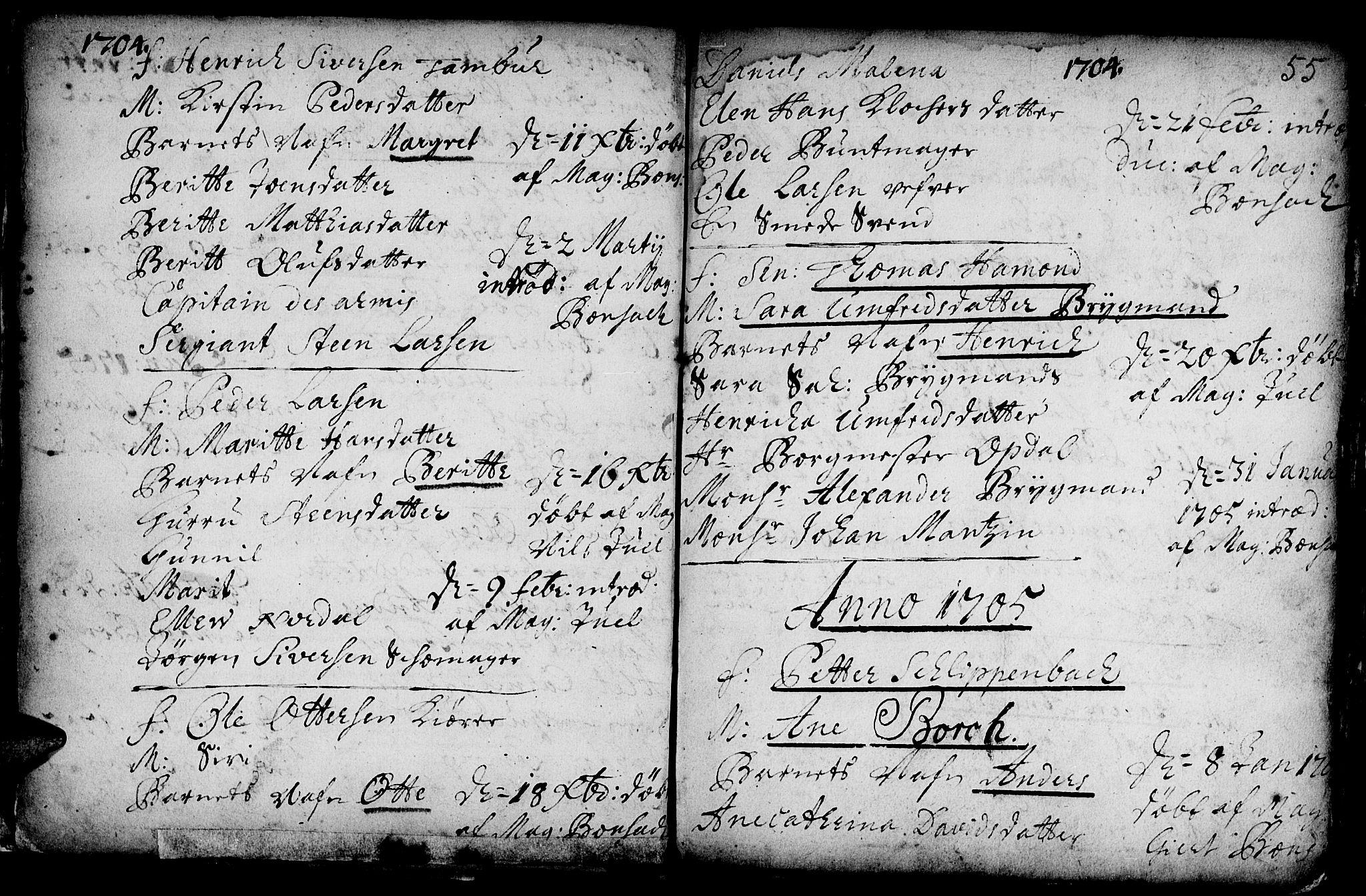 SAT, Ministerialprotokoller, klokkerbøker og fødselsregistre - Sør-Trøndelag, 601/L0034: Ministerialbok nr. 601A02, 1702-1714, s. 55
