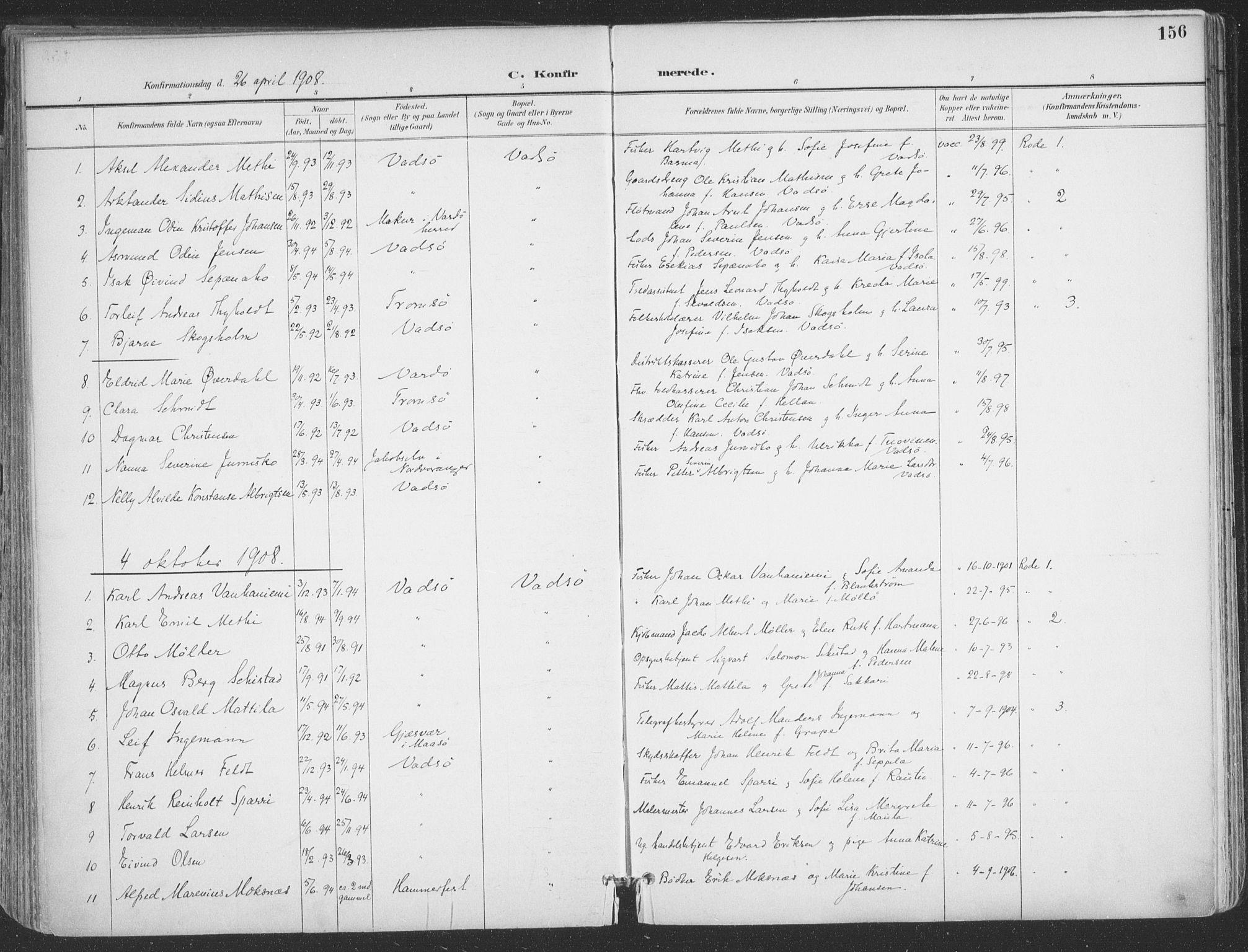 SATØ, Vadsø sokneprestkontor, H/Ha/L0007kirke: Ministerialbok nr. 7, 1896-1916, s. 156