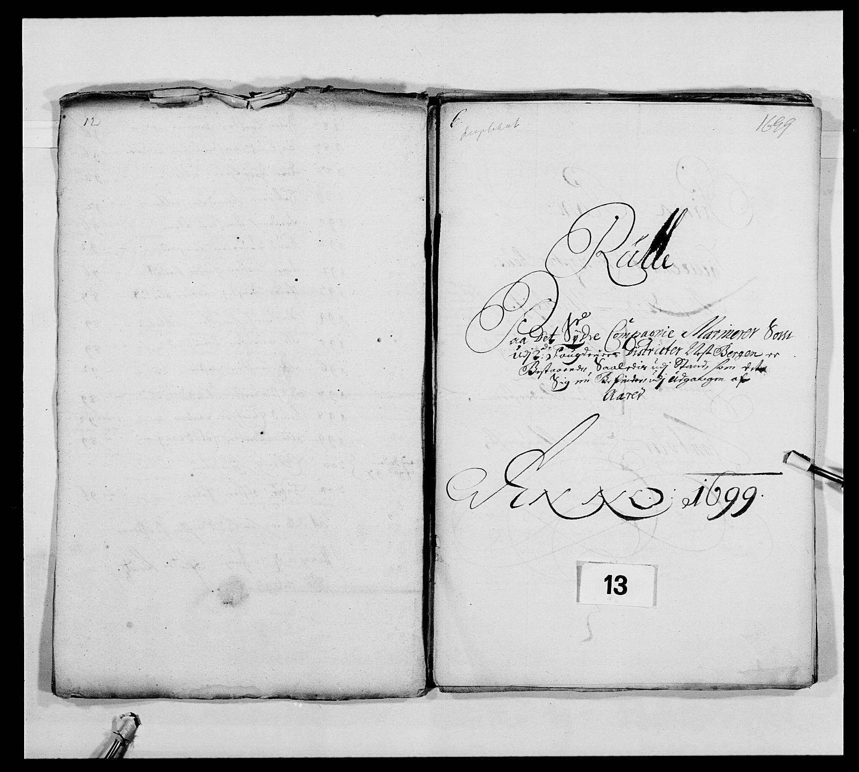 RA, Kommanderende general (KG I) med Det norske krigsdirektorium, E/Ea/L0473: Marineregimentet, 1664-1700, s. 196