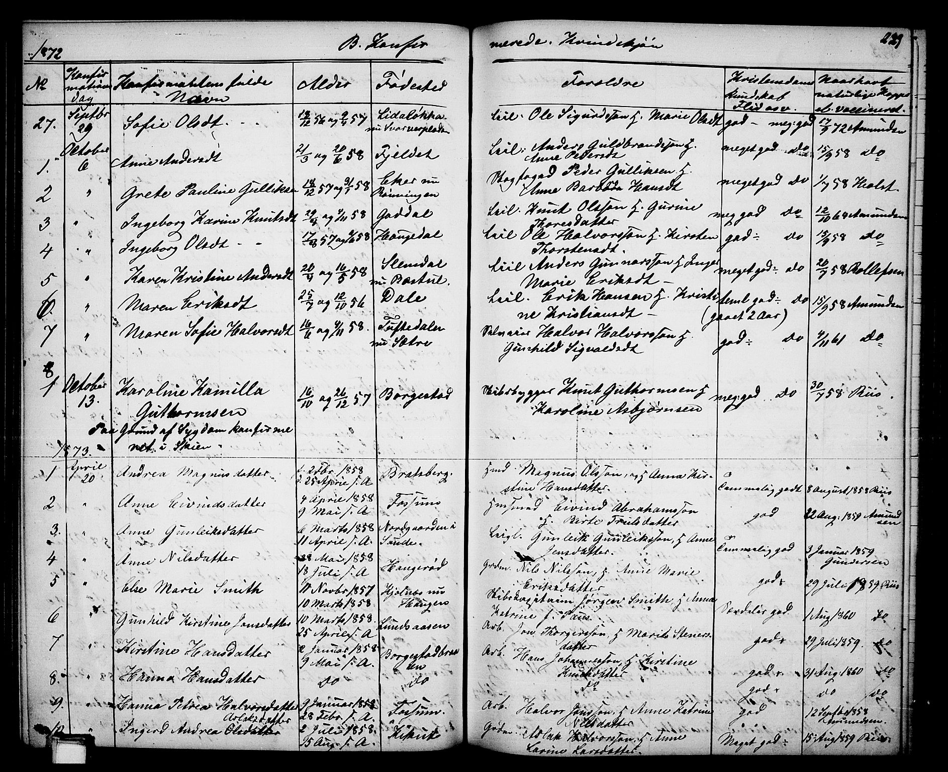 SAKO, Gjerpen kirkebøker, G/Ga/L0001: Klokkerbok nr. I 1, 1864-1882, s. 229