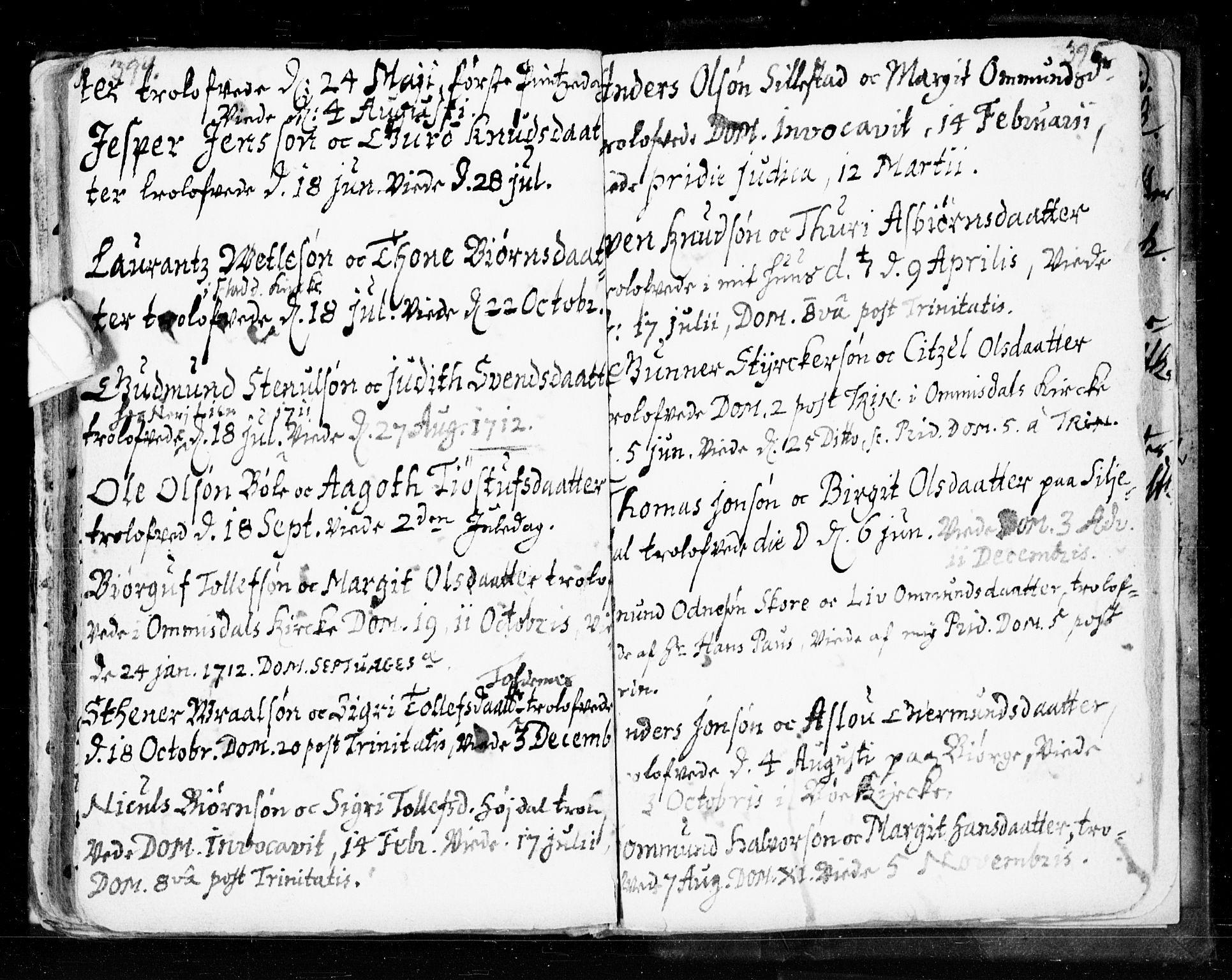 SAKO, Seljord kirkebøker, F/Fa/L0002: Ministerialbok nr. I 2, 1689-1713, s. 394-395