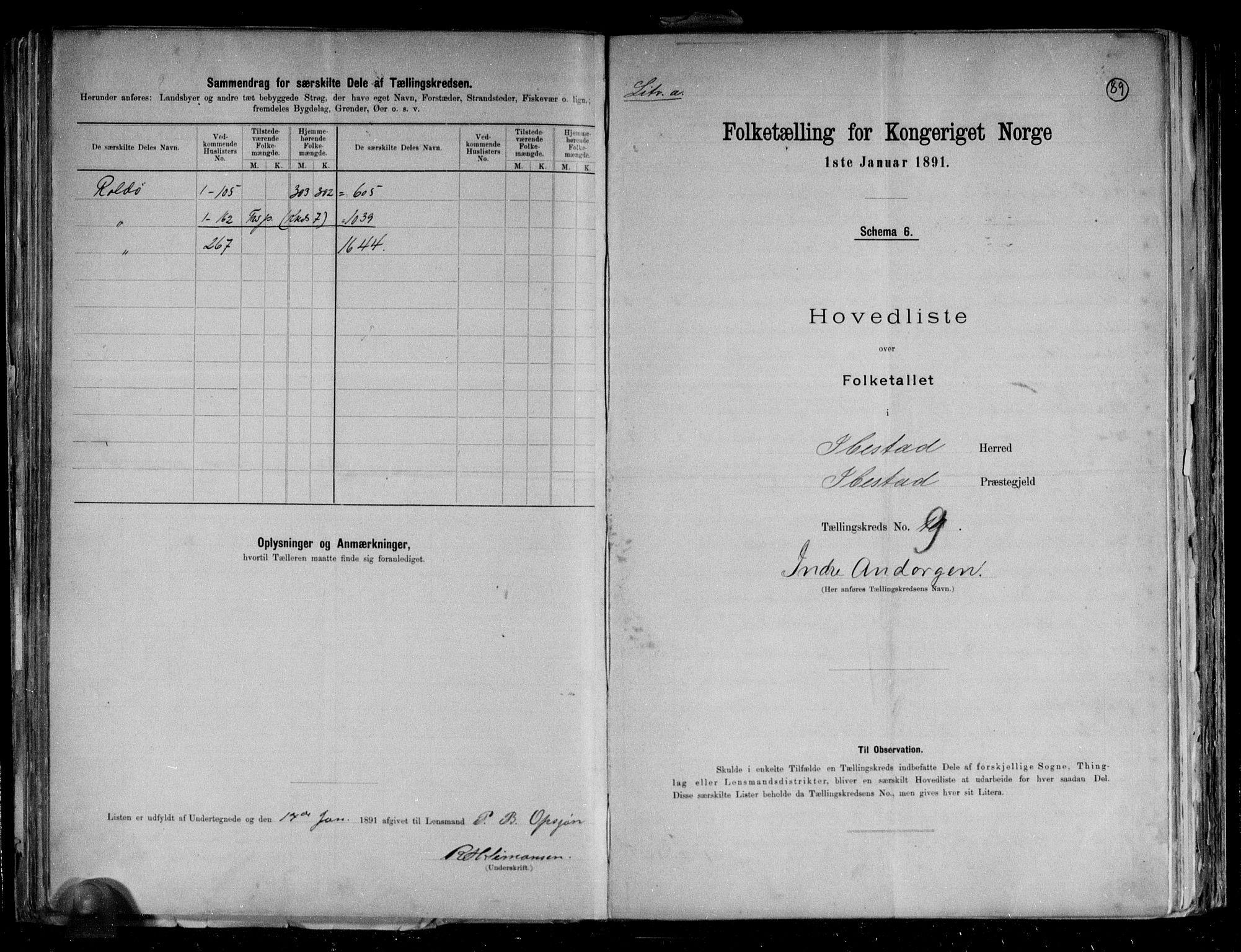 RA, Folketelling 1891 for 1917 Ibestad herred, 1891, s. 25