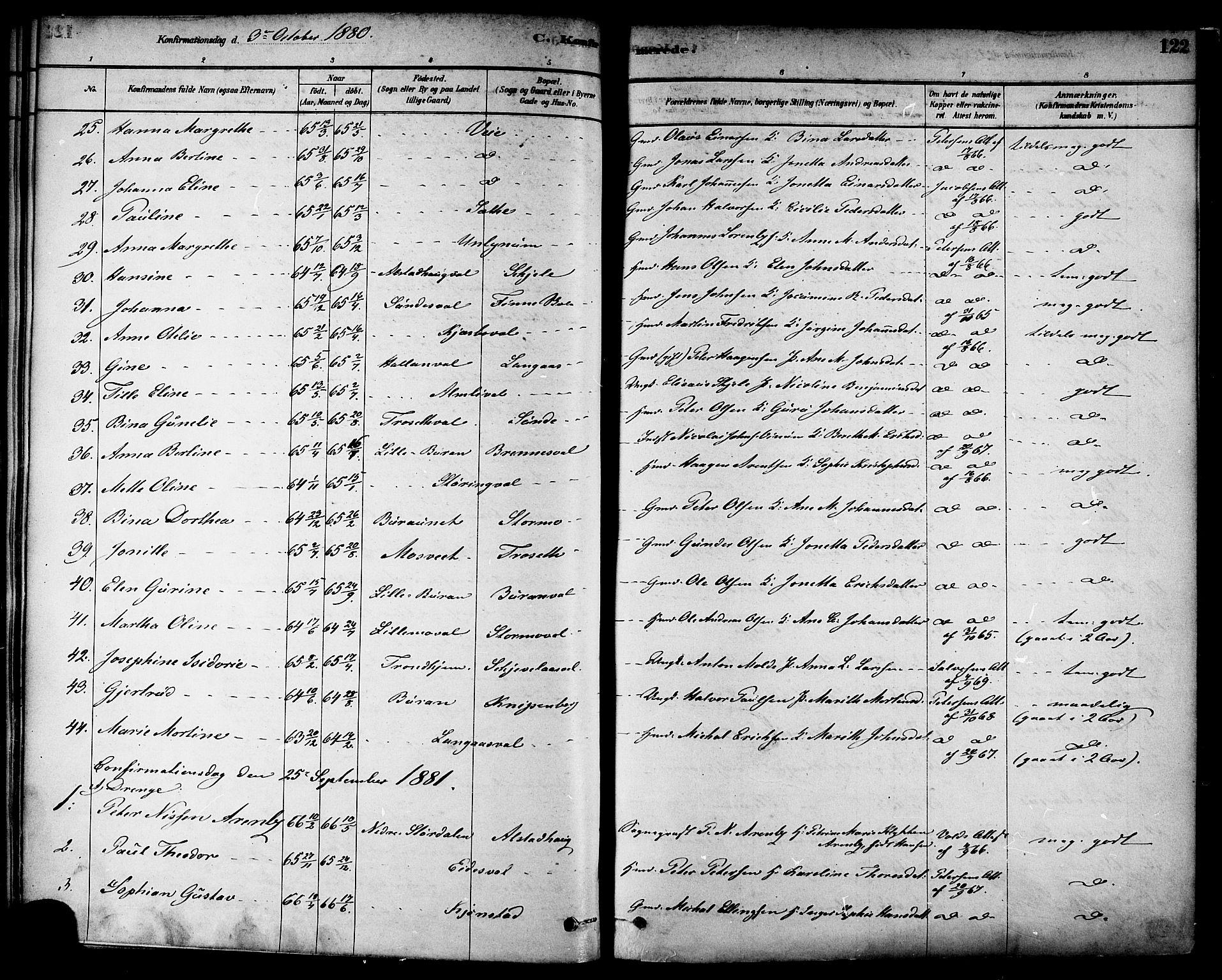 SAT, Ministerialprotokoller, klokkerbøker og fødselsregistre - Nord-Trøndelag, 717/L0159: Ministerialbok nr. 717A09, 1878-1898, s. 122
