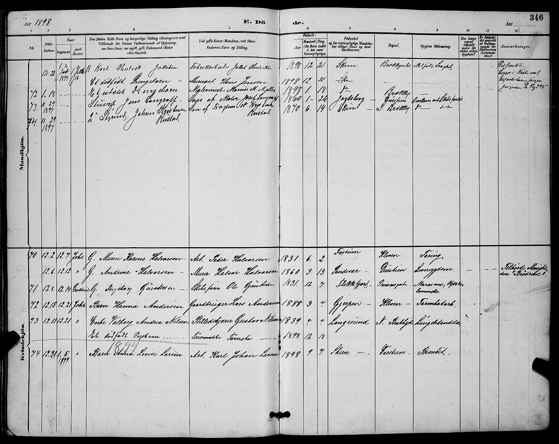 SAKO, Skien kirkebøker, G/Ga/L0007: Klokkerbok nr. 7, 1891-1900, s. 346
