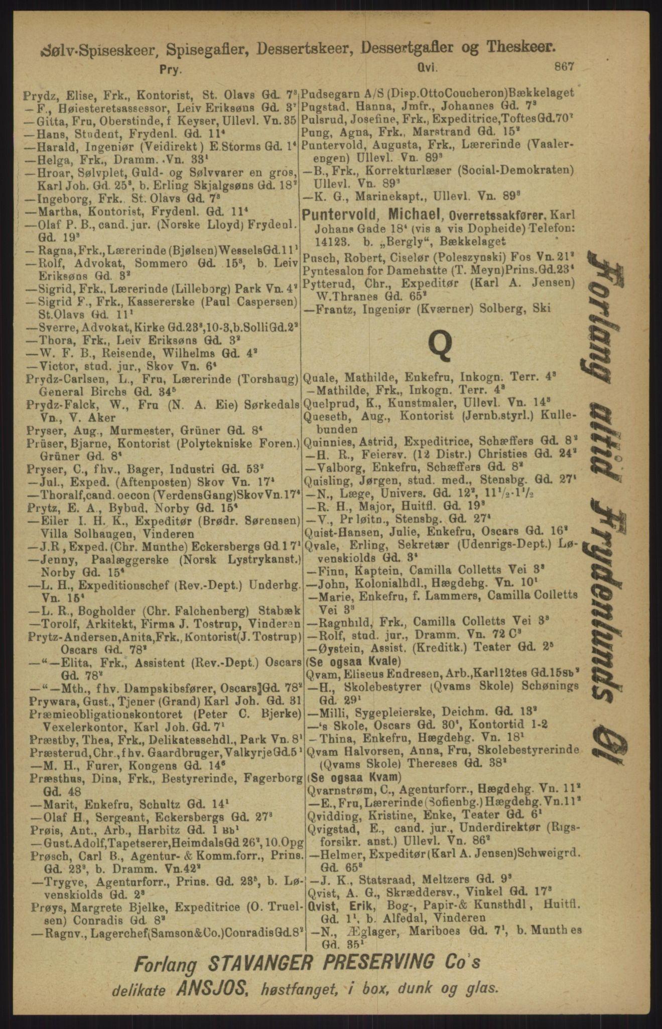RA, Kristiania adressebok (publikasjon)*, 1911, s. 867