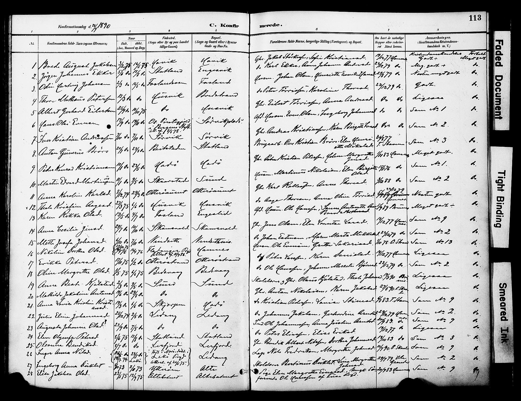 SAT, Ministerialprotokoller, klokkerbøker og fødselsregistre - Nord-Trøndelag, 774/L0628: Ministerialbok nr. 774A02, 1887-1903, s. 113