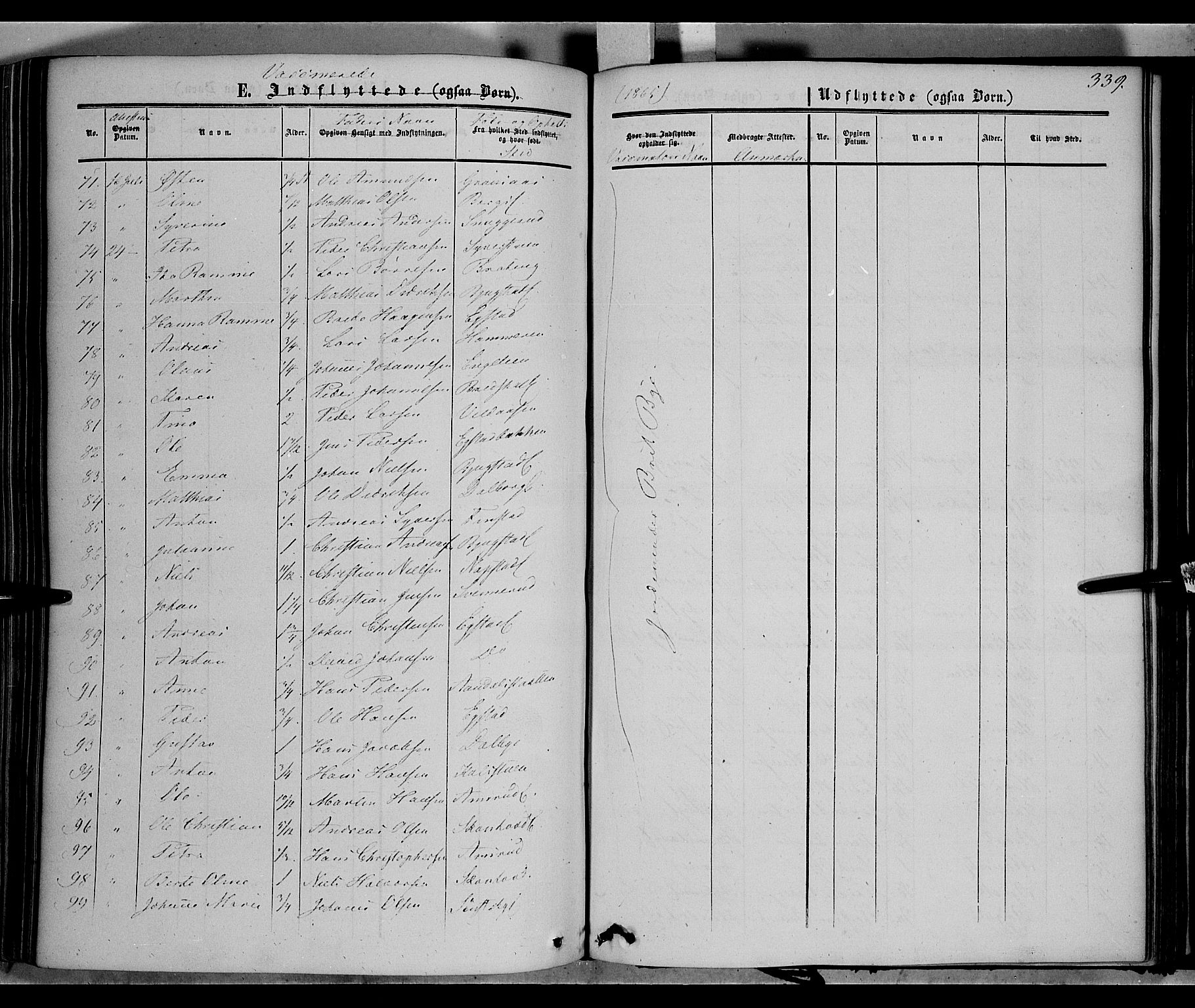 SAH, Vardal prestekontor, H/Ha/Haa/L0006: Ministerialbok nr. 6, 1854-1866, s. 339
