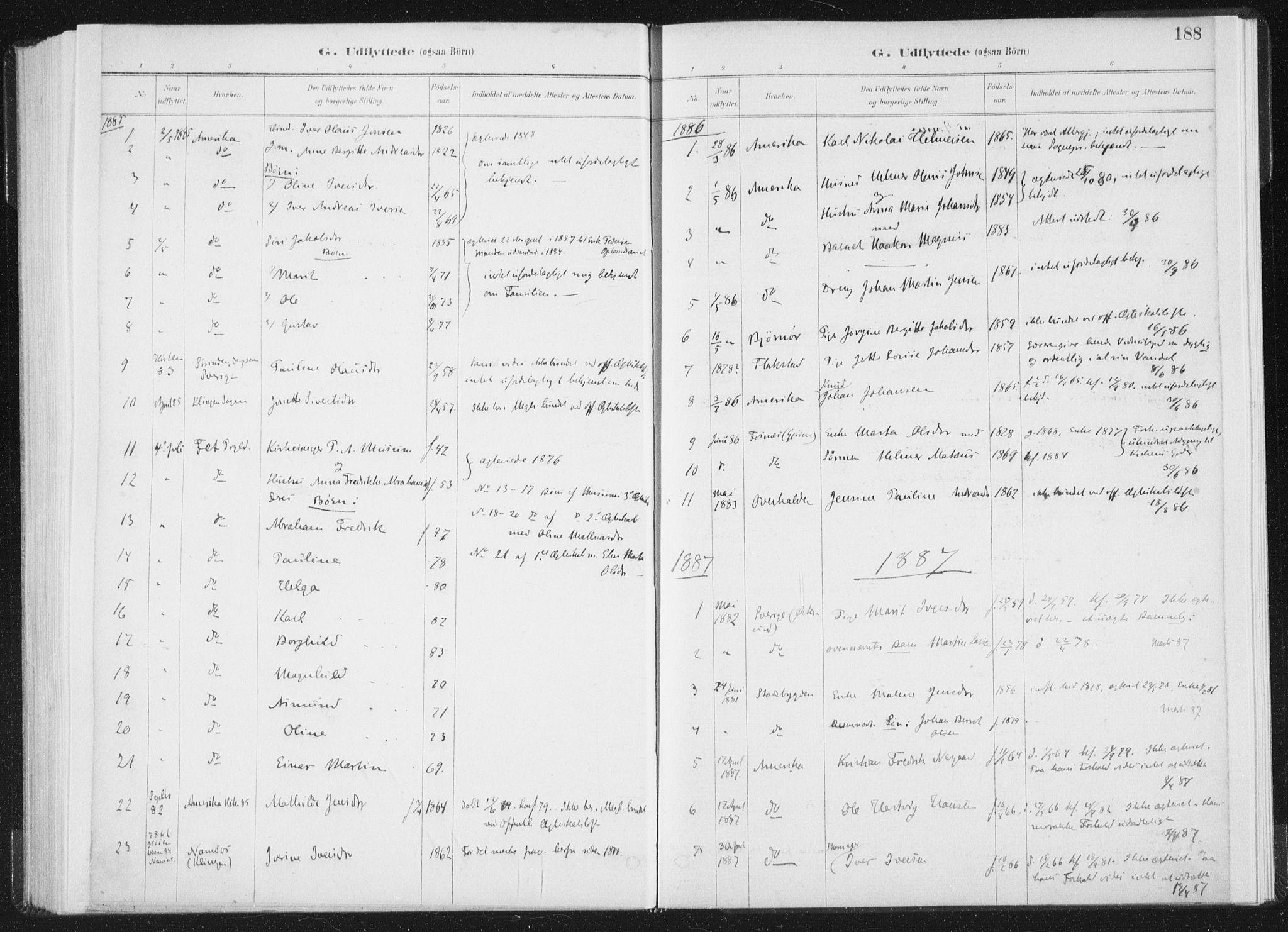 SAT, Ministerialprotokoller, klokkerbøker og fødselsregistre - Nord-Trøndelag, 771/L0597: Ministerialbok nr. 771A04, 1885-1910, s. 188