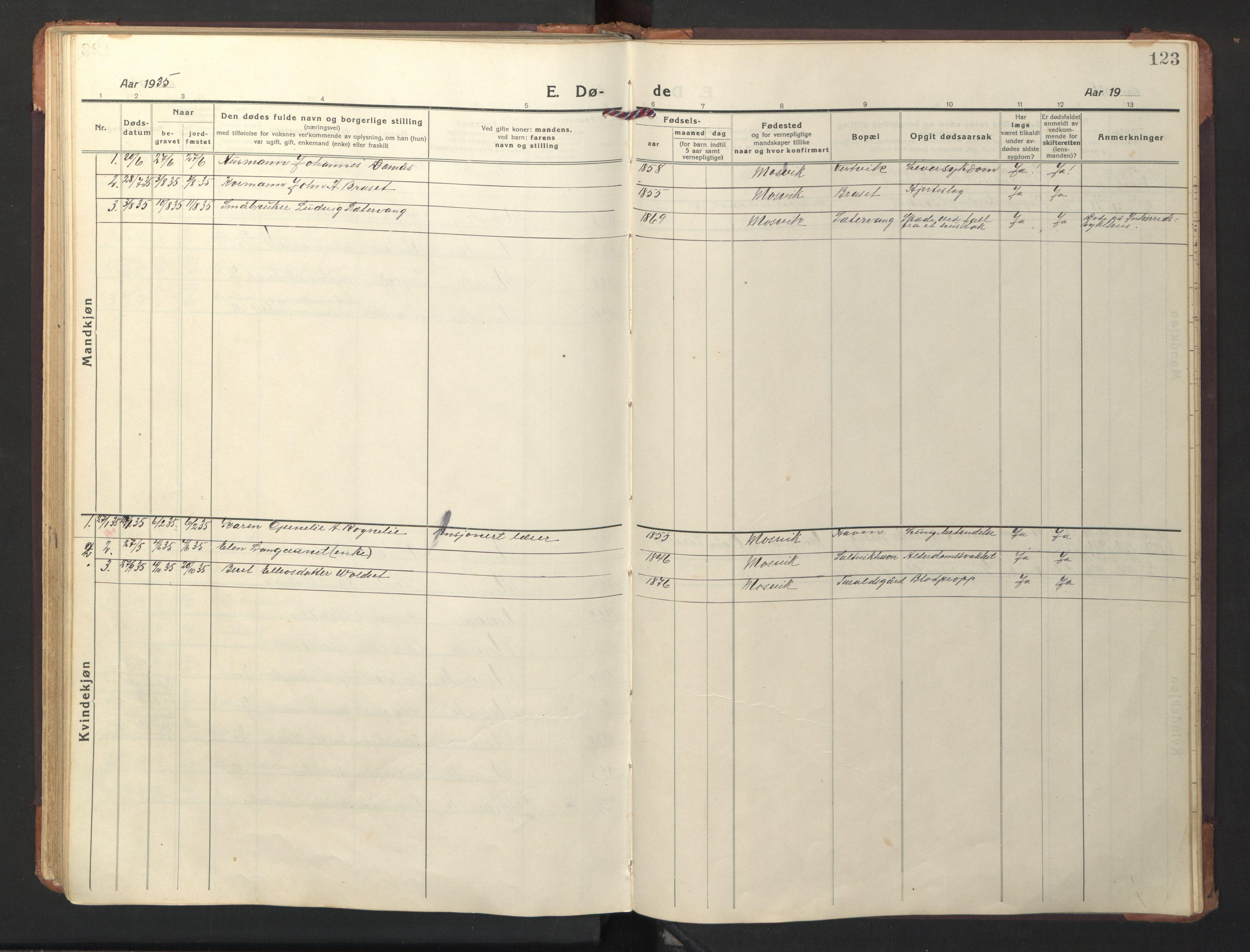 SAT, Ministerialprotokoller, klokkerbøker og fødselsregistre - Nord-Trøndelag, 733/L0328: Klokkerbok nr. 733C03, 1919-1966, s. 123