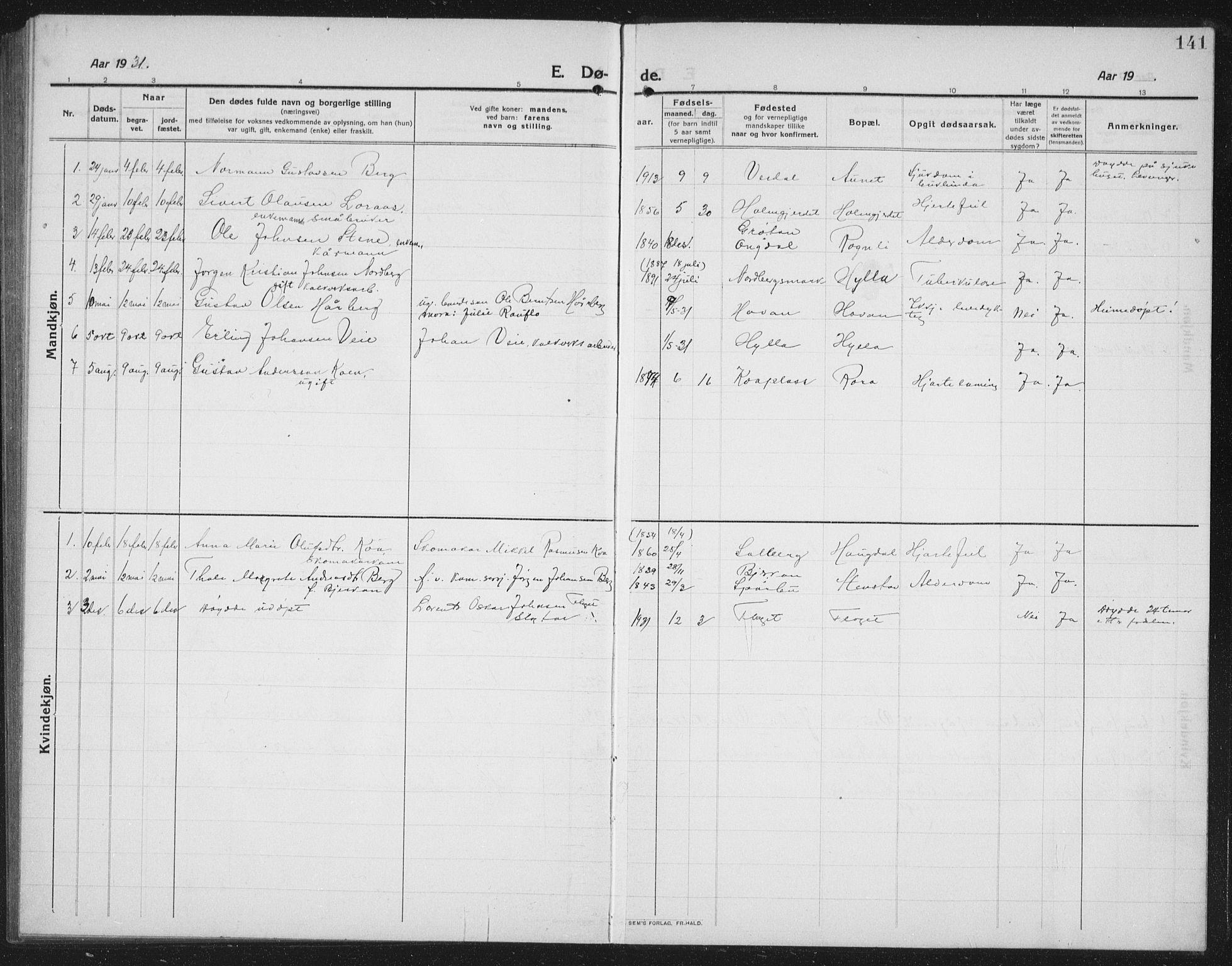 SAT, Ministerialprotokoller, klokkerbøker og fødselsregistre - Nord-Trøndelag, 731/L0312: Klokkerbok nr. 731C03, 1911-1935, s. 141