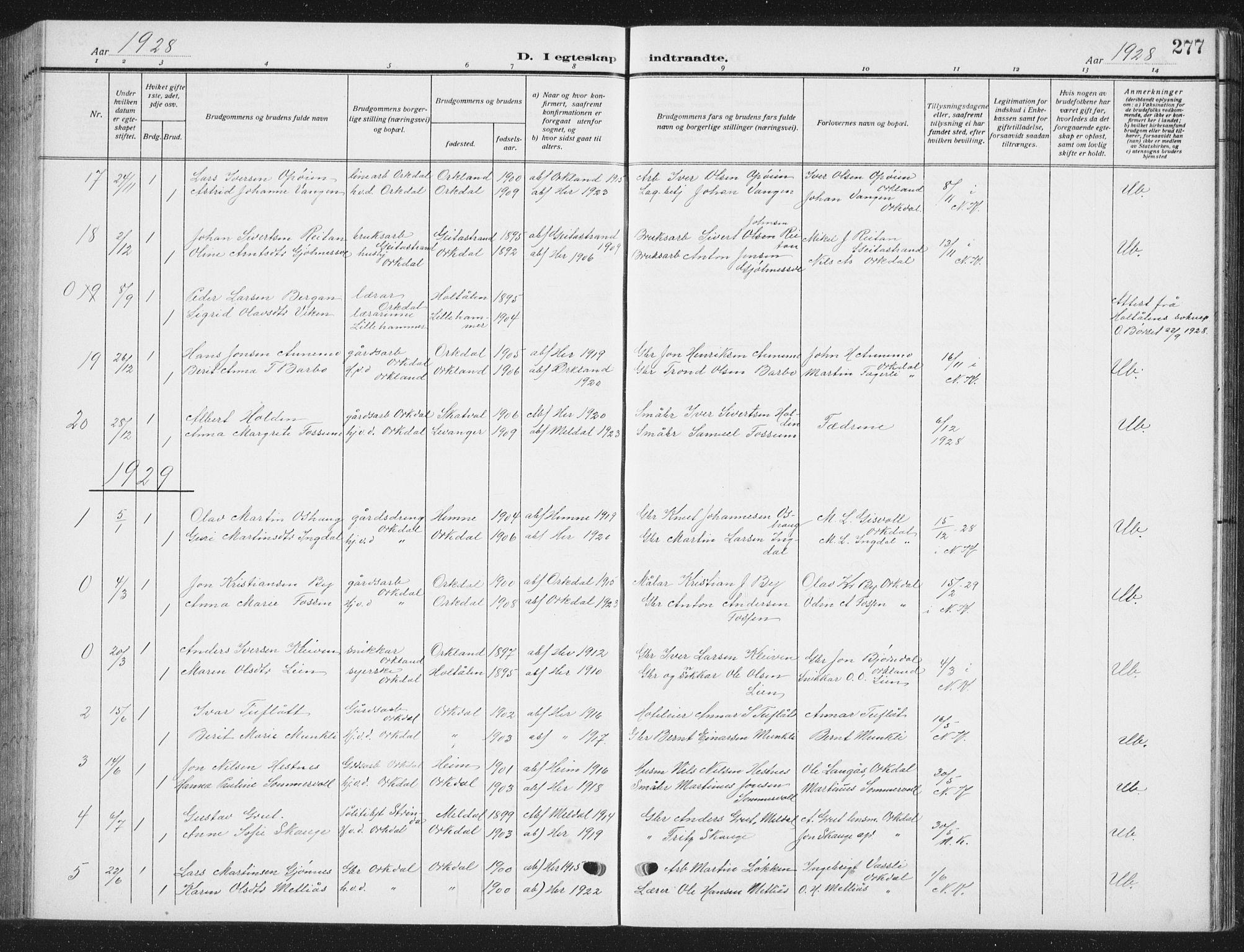 SAT, Ministerialprotokoller, klokkerbøker og fødselsregistre - Sør-Trøndelag, 668/L0820: Klokkerbok nr. 668C09, 1912-1936, s. 277