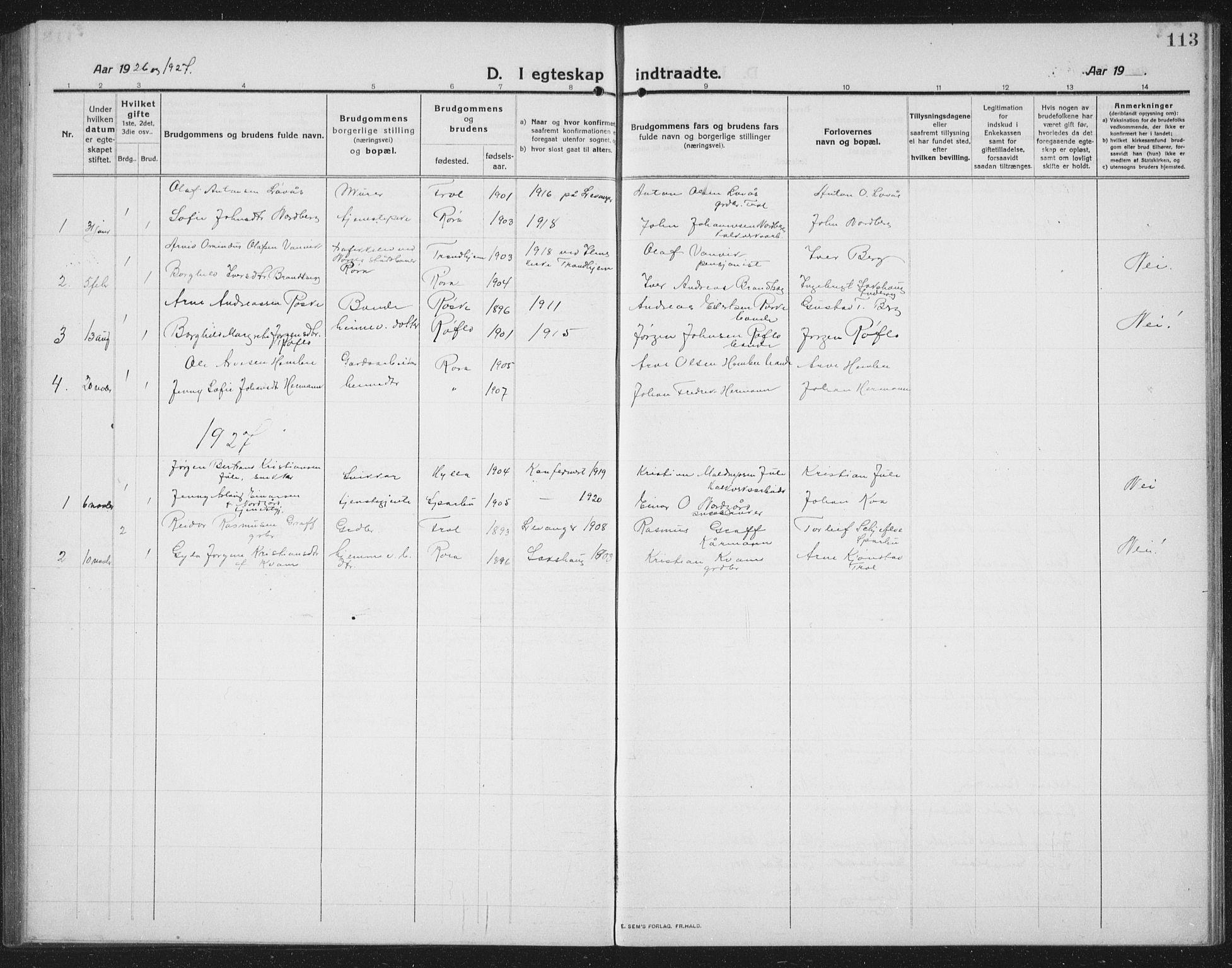 SAT, Ministerialprotokoller, klokkerbøker og fødselsregistre - Nord-Trøndelag, 731/L0312: Klokkerbok nr. 731C03, 1911-1935, s. 113