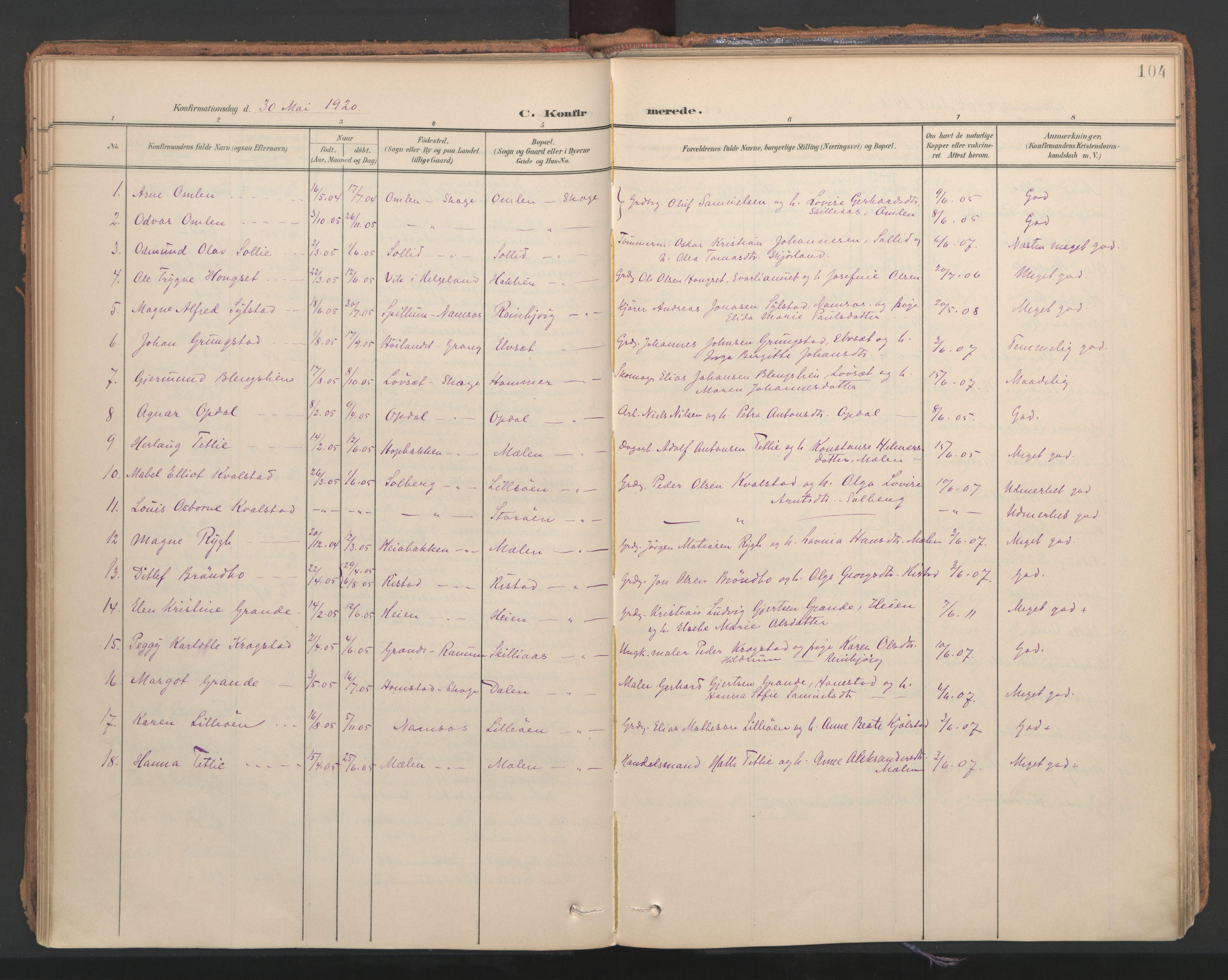 SAT, Ministerialprotokoller, klokkerbøker og fødselsregistre - Nord-Trøndelag, 766/L0564: Ministerialbok nr. 767A02, 1900-1932, s. 104