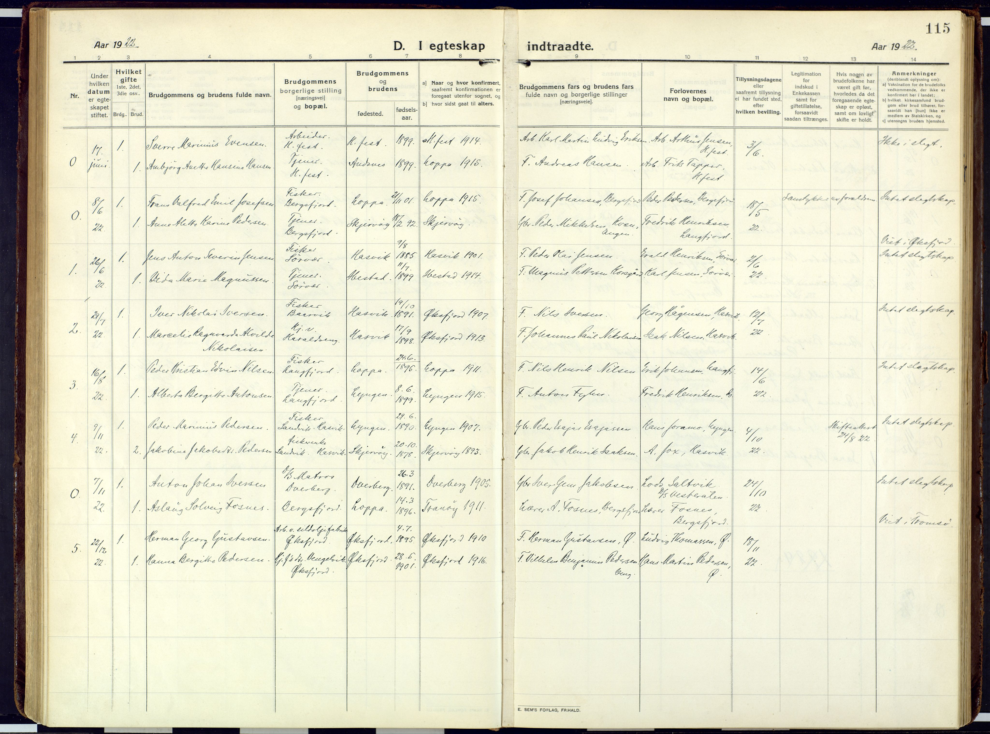 SATØ, Loppa sokneprestkontor, H/Ha/L0013kirke: Ministerialbok nr. 13, 1920-1932, s. 115